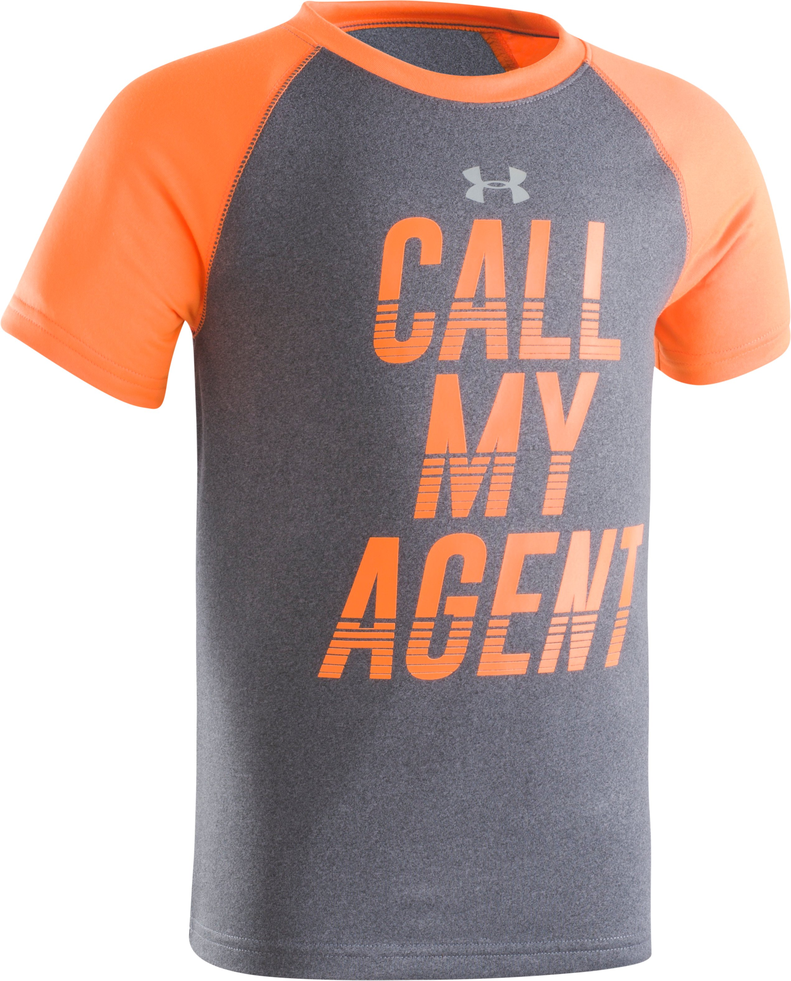 Boys' Pre-School UA Call My Agent Short Sleeve Shirt, Carbon Heather, Laydown