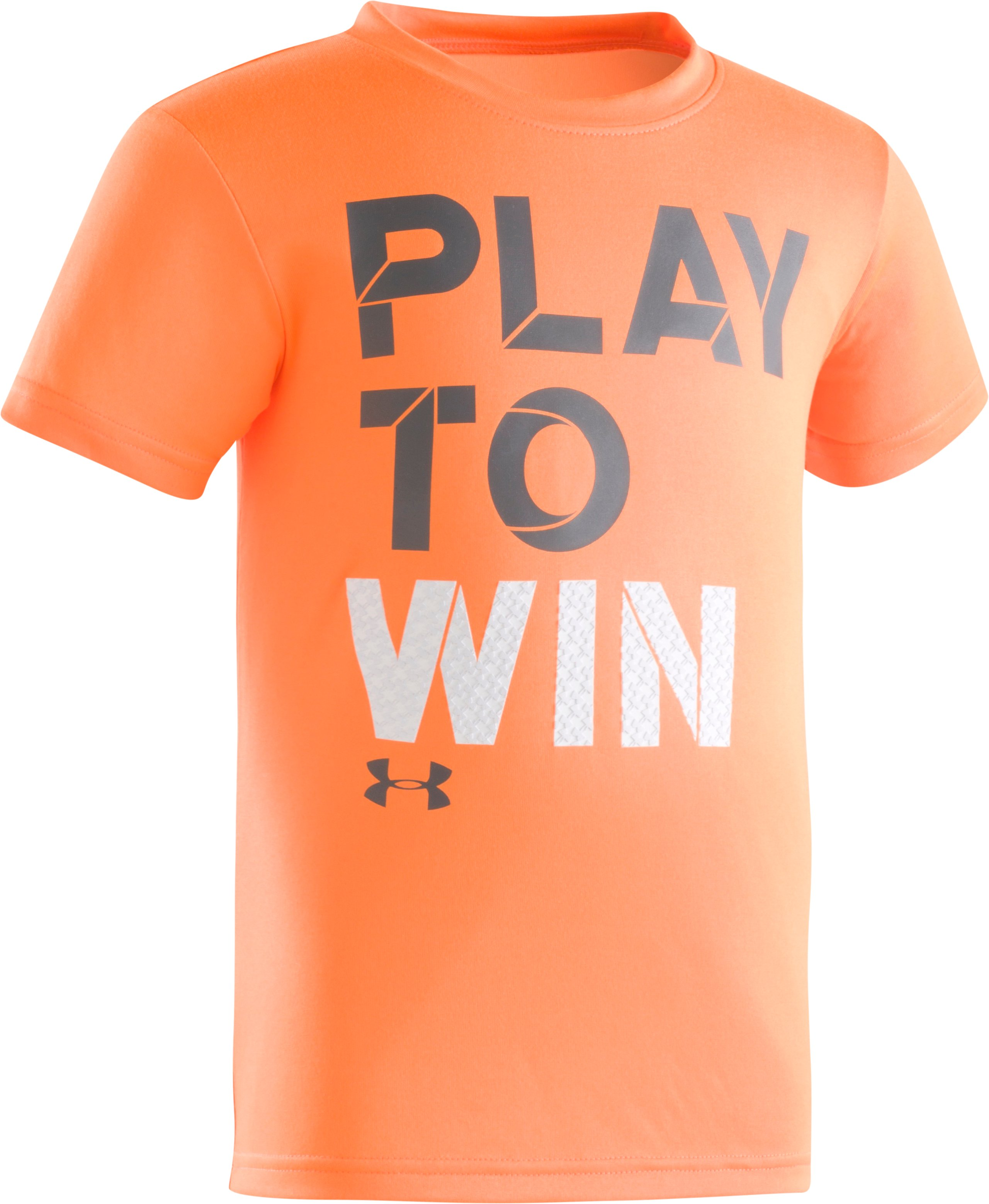 Boys' Toddler UA Going The Distance Short Sleeve Shirt, TRAFFIC CONE ORANGE, Laydown