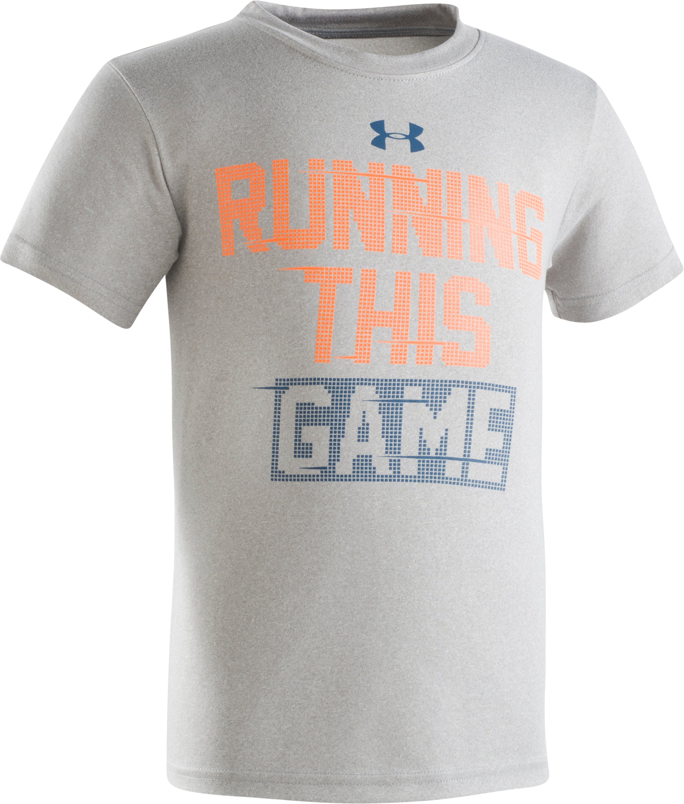 Boys' Pre-School UA Running This Game Short Sleeve Shirt, True Gray Heather, Laydown