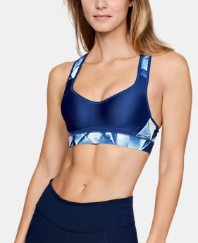 Women's UA Warp Knit High Printed Sports Bra  1  Color $60