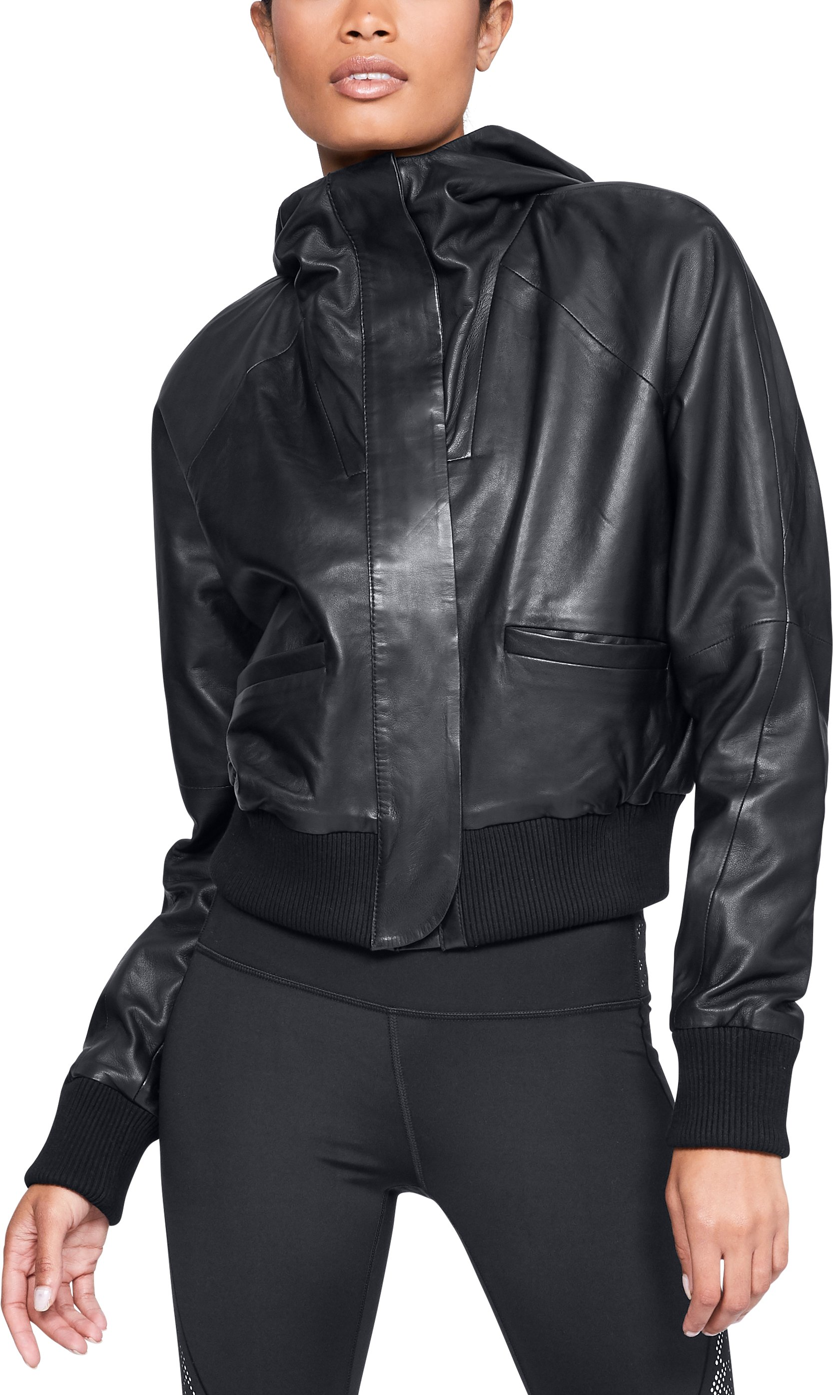 Women's UA Misty Copeland Signature Leather Bomber Jacket, Black