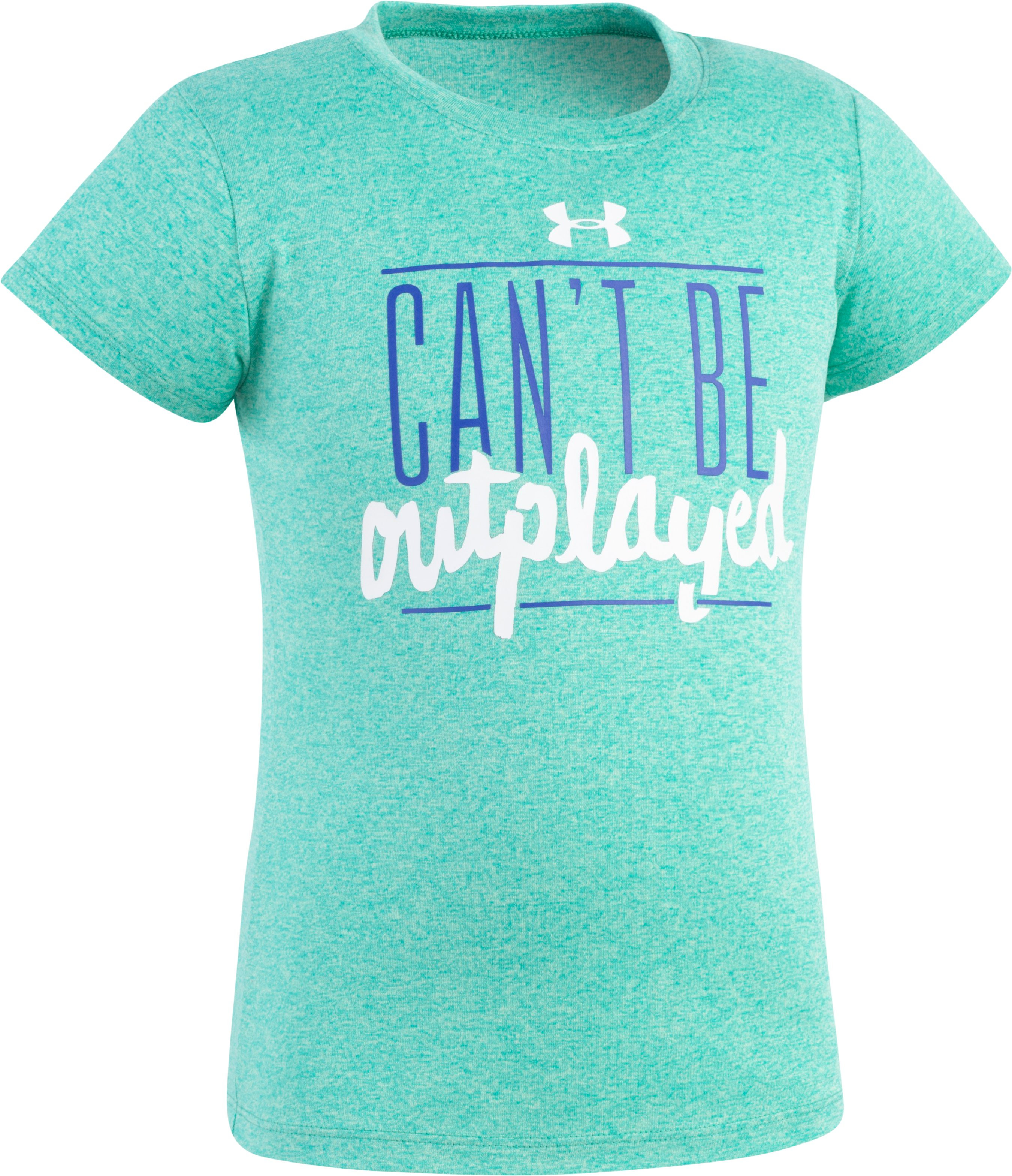 Girls' Pre-School UA Can't Be Outplayed T-Shirt, ABSINTHE GREEN, Laydown