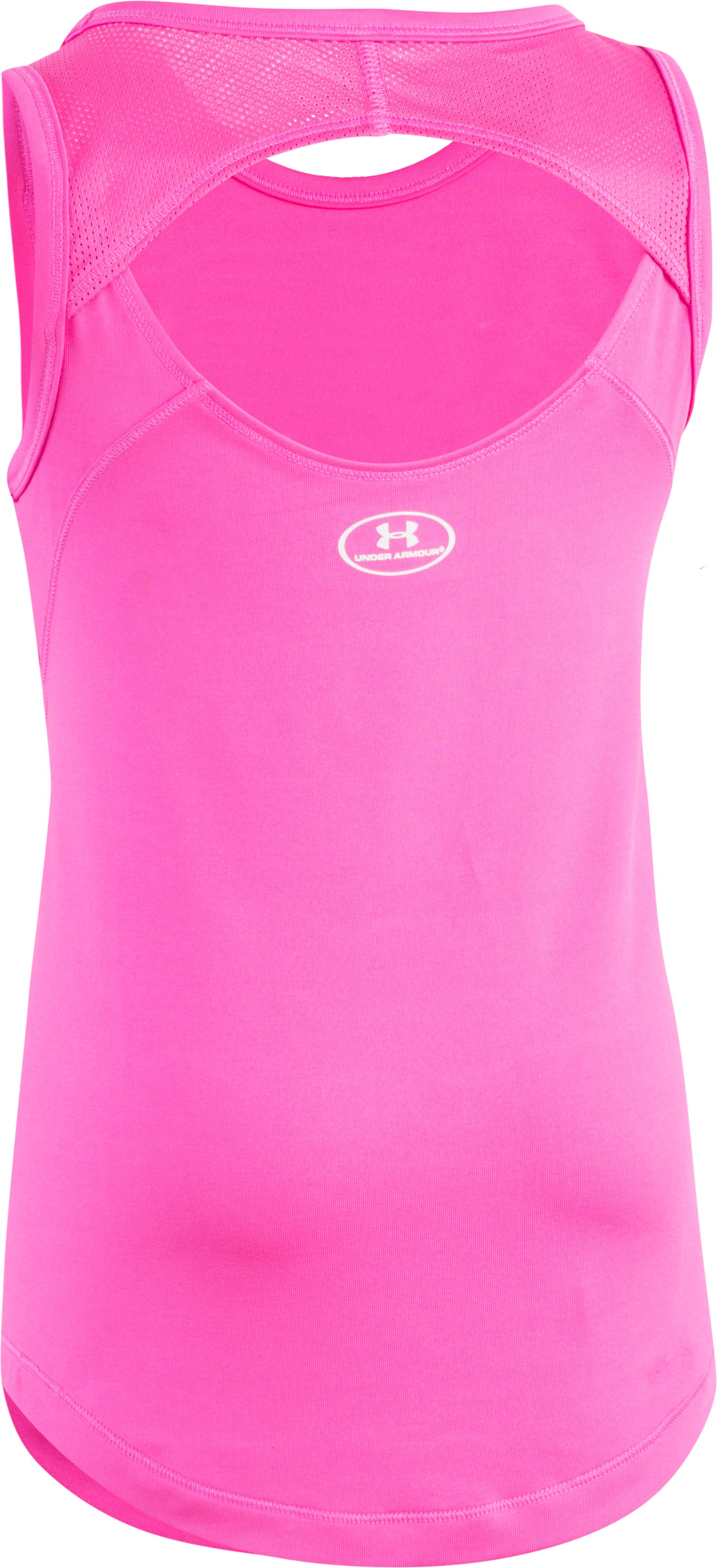 Girls' Pre-School UA Stacked Logo Tank, REBEL PINK, undefined