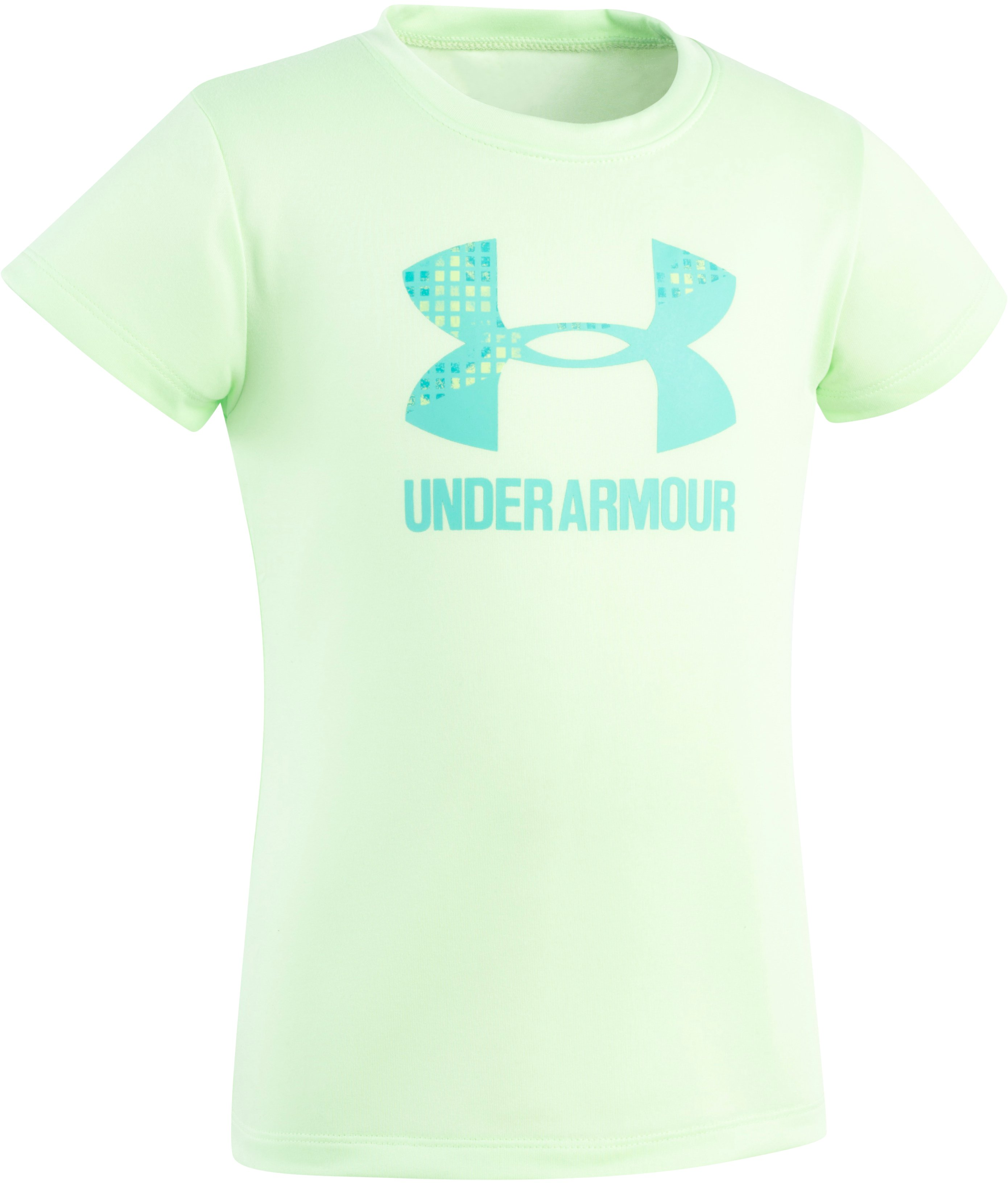 Girls' Toddler UA Terra Big Logo Short Sleeve, SUMMER LIME, Laydown
