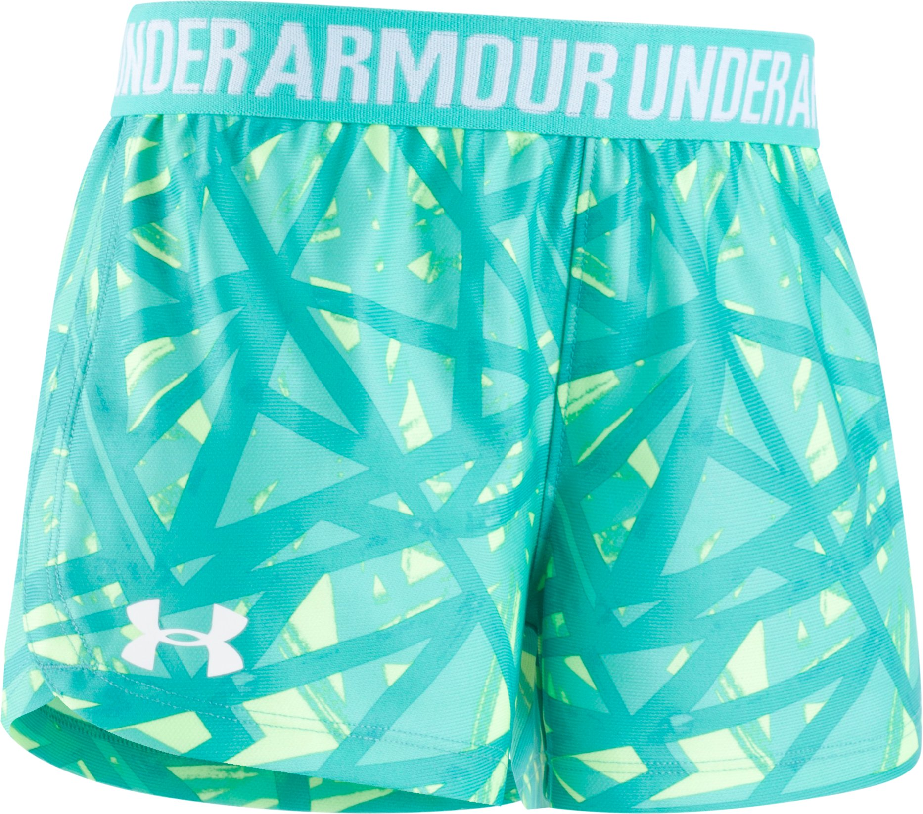 Girls' Pre-School UA Shifting Ladders Play Up Shorts, ABSINTHE GREEN, Laydown