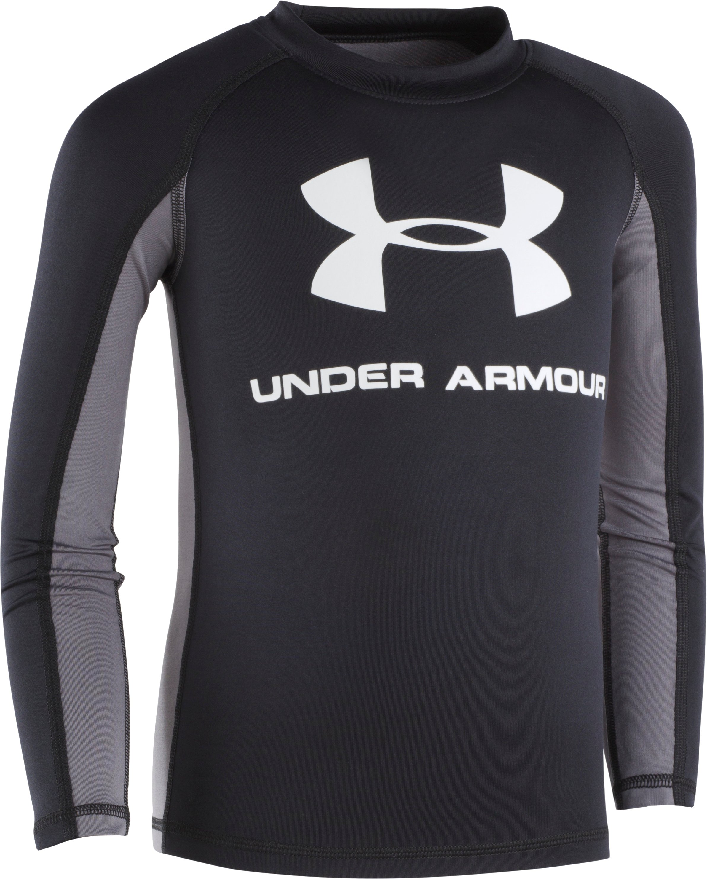 Boys' UA Compression Long Sleeve Rashguard Shirt, Black , Laydown