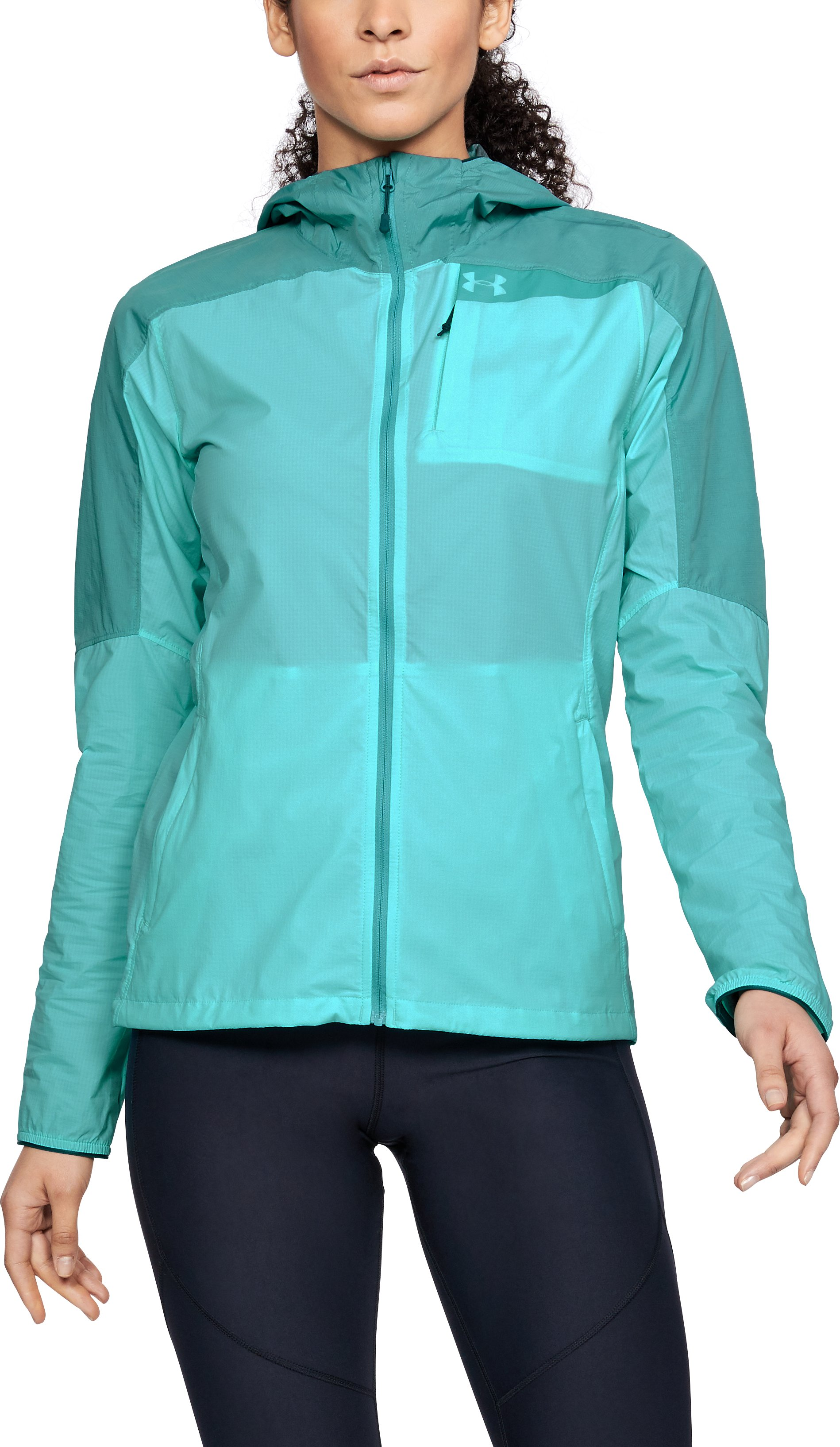 Women's UA Scrambler Hybrid Jacket, TROPICAL TIDE