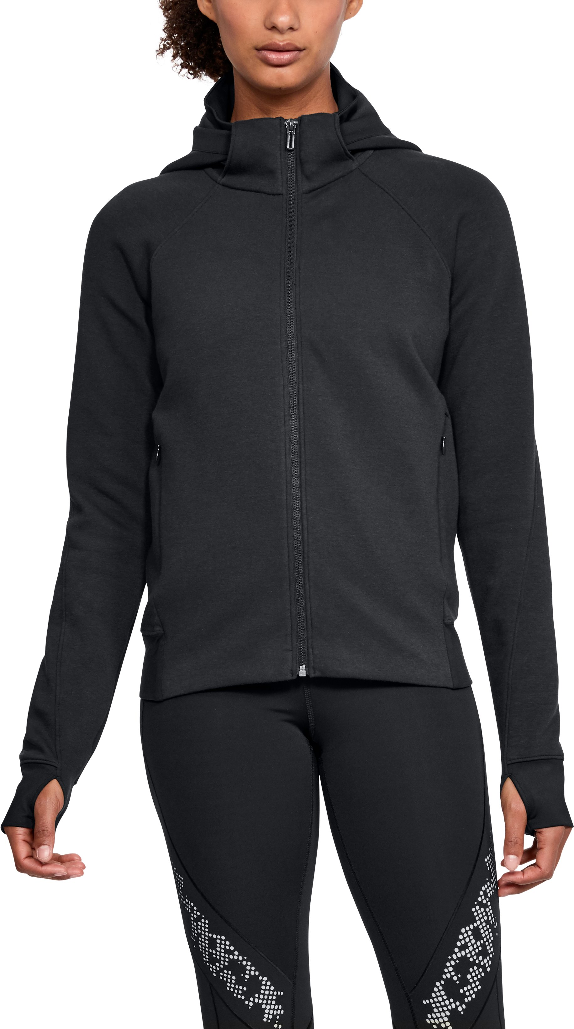small jackets Women's UA Spacer Full Zip Jacket Removable <strong>hood</strong> attached to <strong>interior</strong> <strong>collar</strong>.