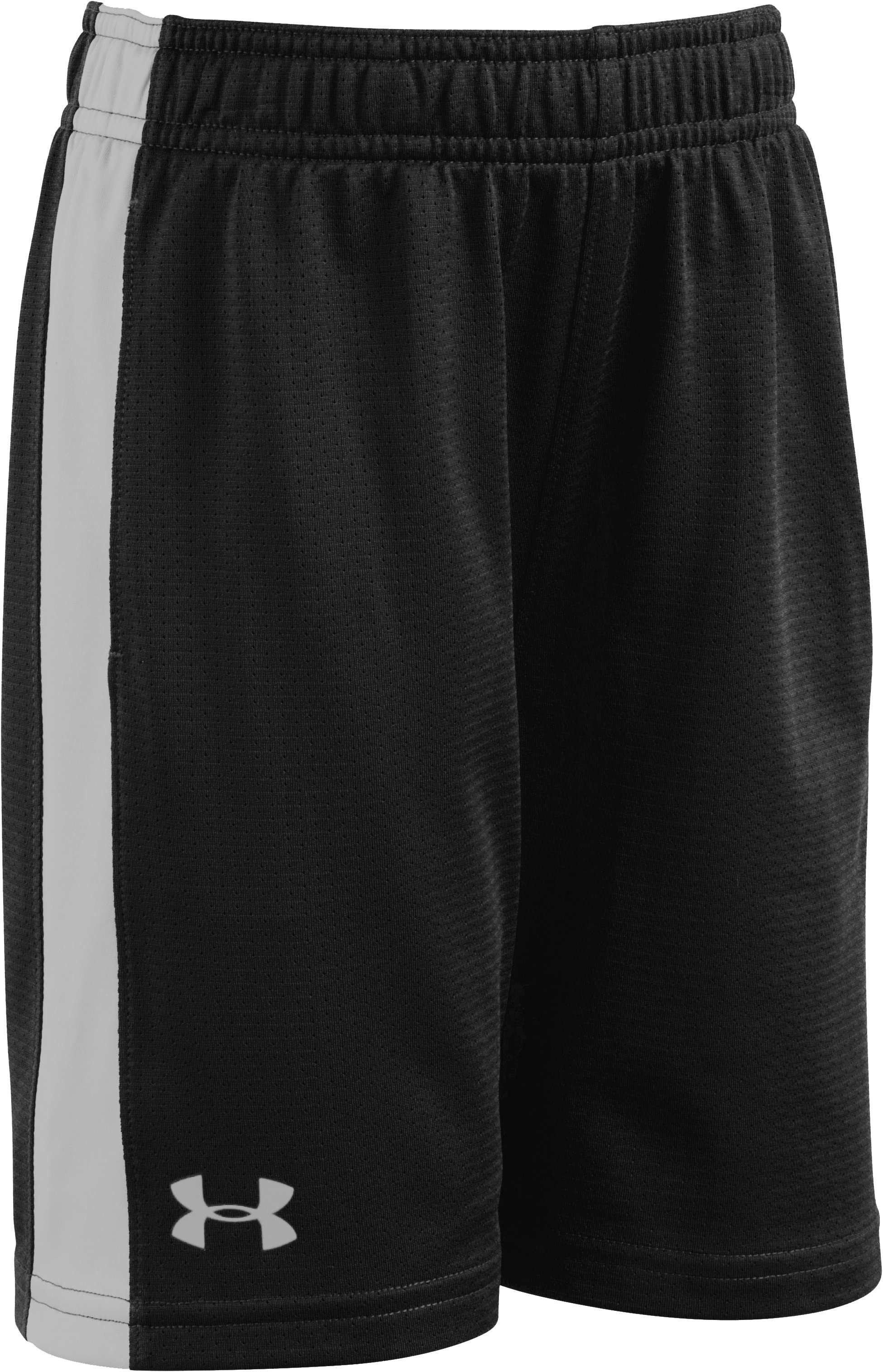 Boys' Toddler UA Mesh Eliminator Shorts, Black , Laydown