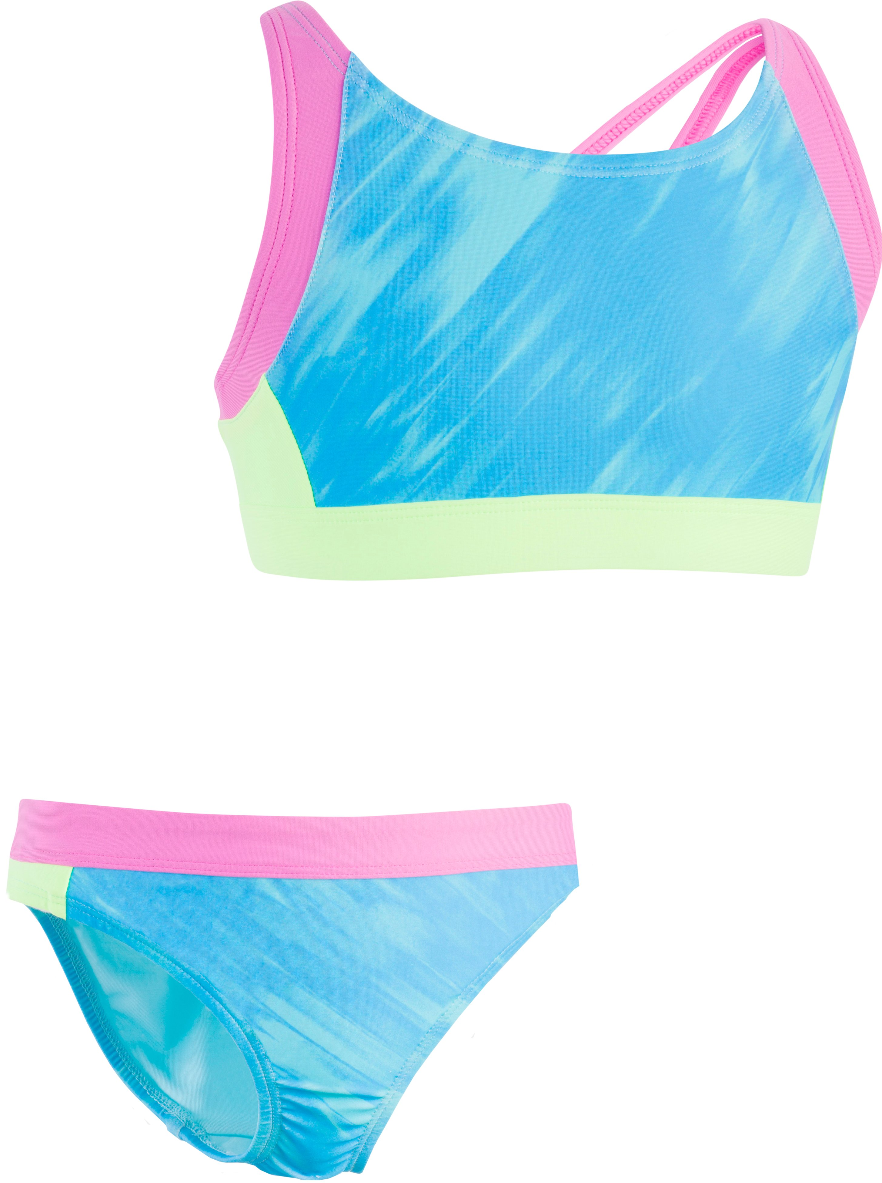 Girls' UA Oasis Trifecta 2-Piece, MERIDIAN BLUE, Laydown