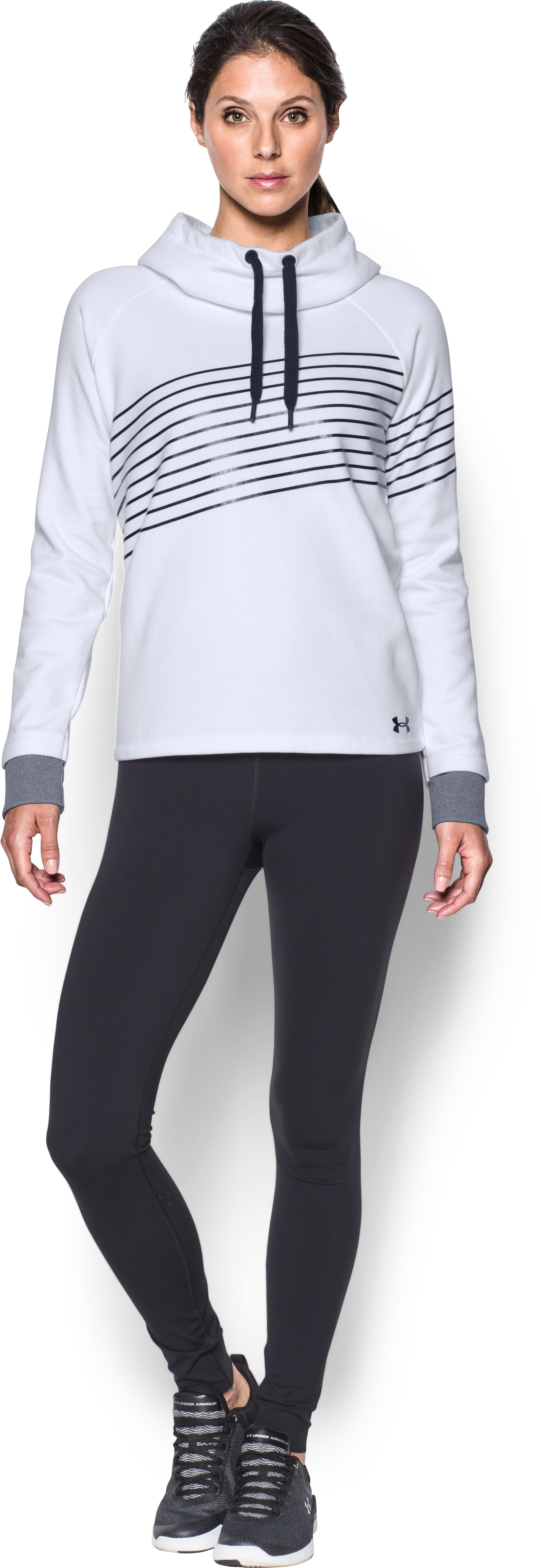 Women's UA Threadborne Fleece Fashion Hoodie, White, Front