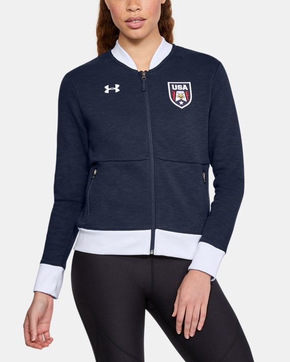 Women's UA Stars & Stripes Bomber Jacket, Navy, pdpMainDesktop image number 0