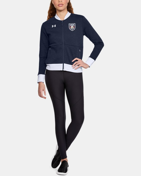 Women's UA Stars & Stripes Bomber Jacket, Navy, pdpMainDesktop image number 1