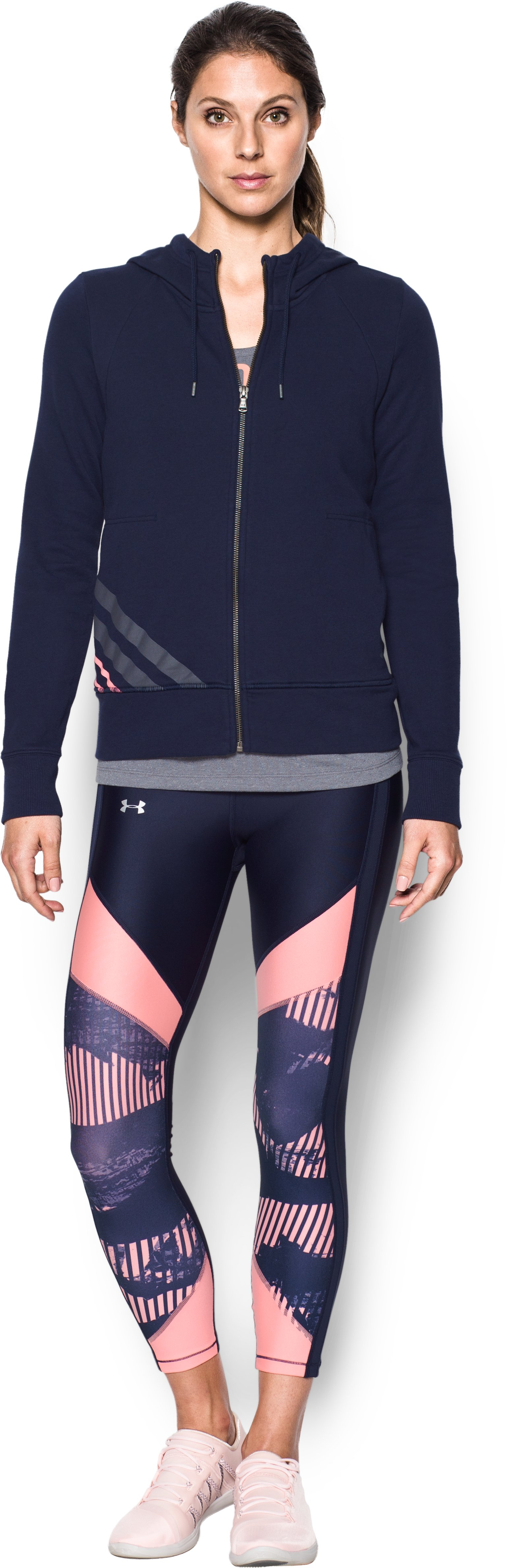Women's UA French Terry Full Zip Hoodie, Midnight Navy, Front