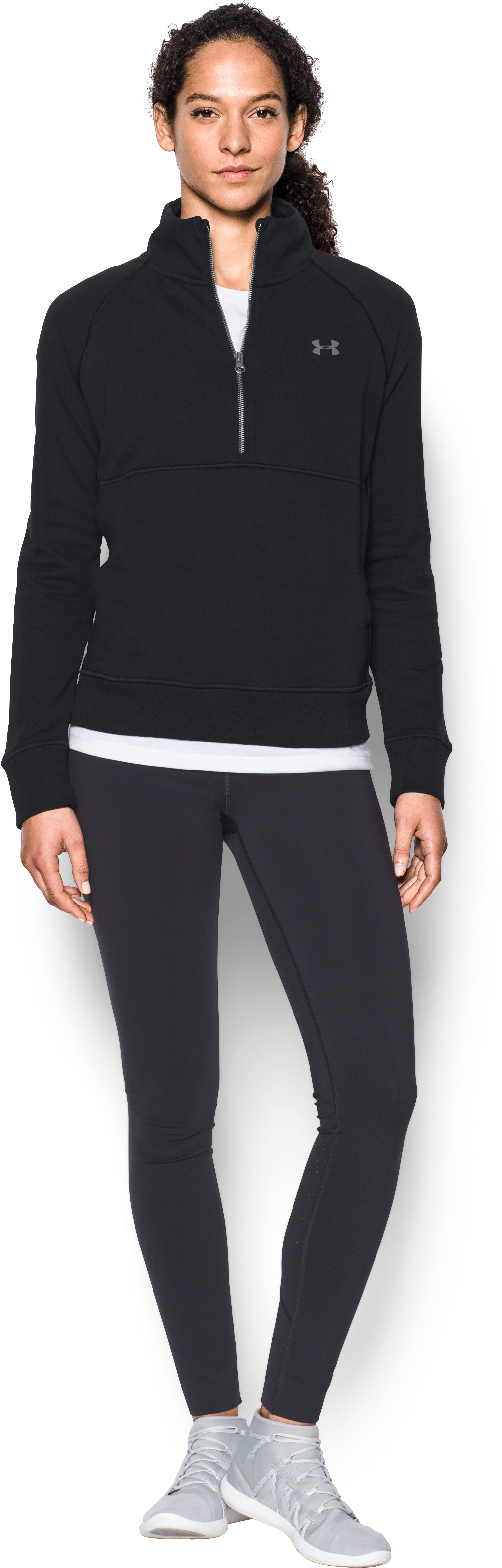 Women's UA French Terry ½ Zip Sweatshirt, Black , Front