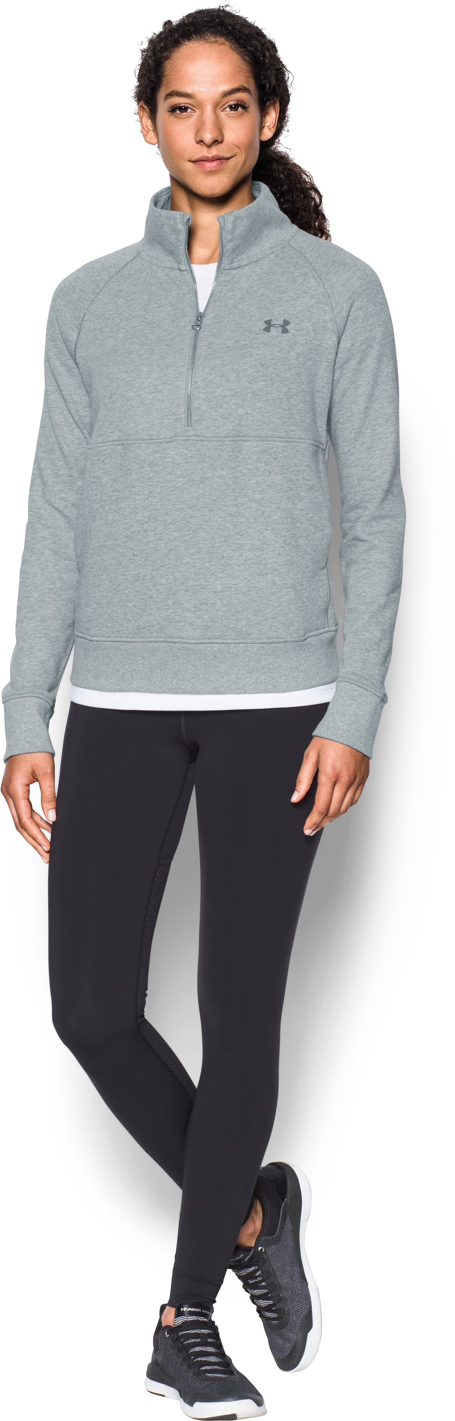 Women's UA French Terry ½ Zip Sweatshirt, True Gray Heather, Front