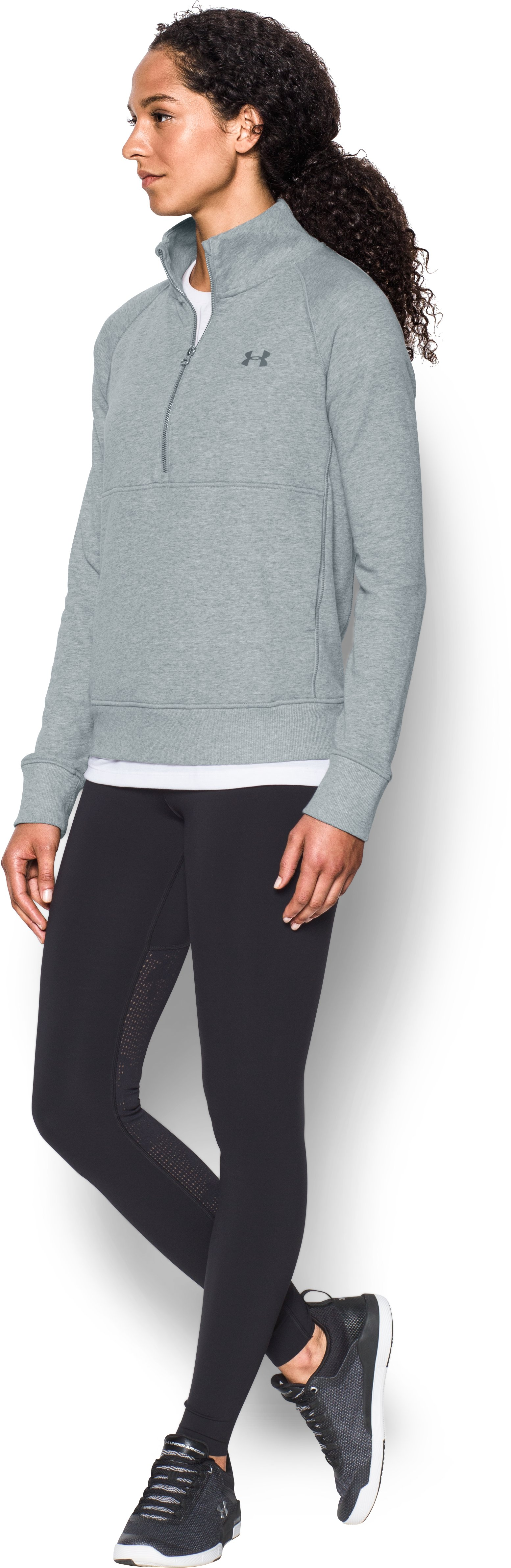 Women's UA French Terry ½ Zip Sweatshirt, True Gray Heather,