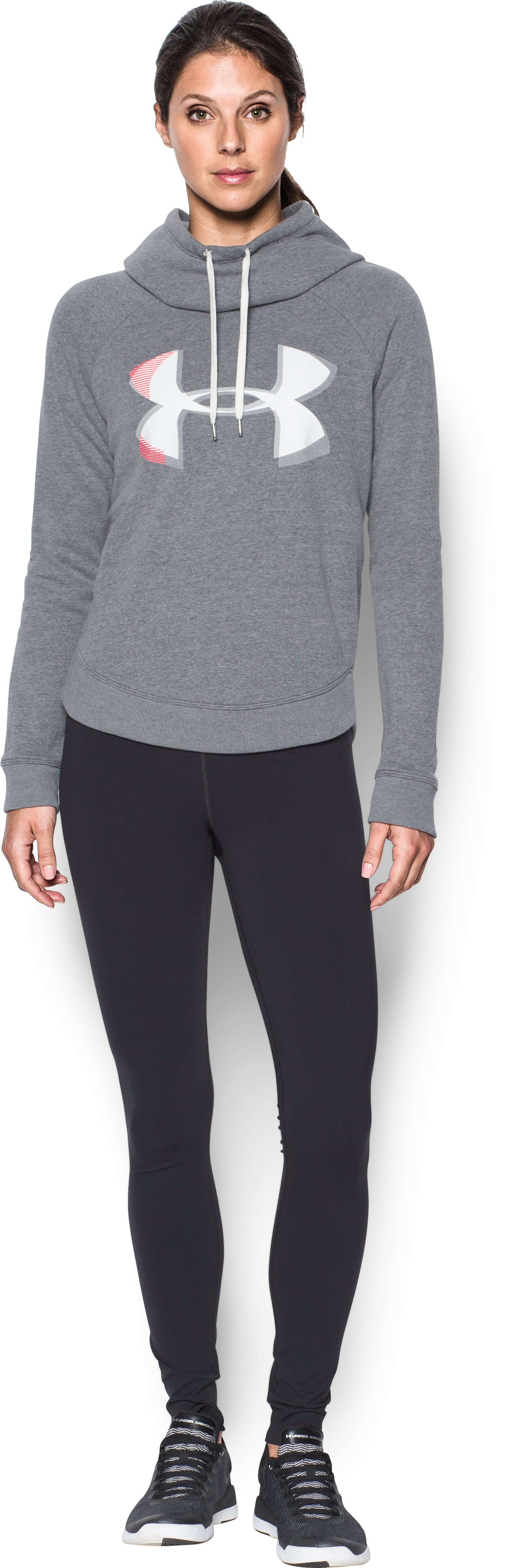 Women's UA Fashion Favorite Exploded Logo Pullover, Carbon Heather, Front