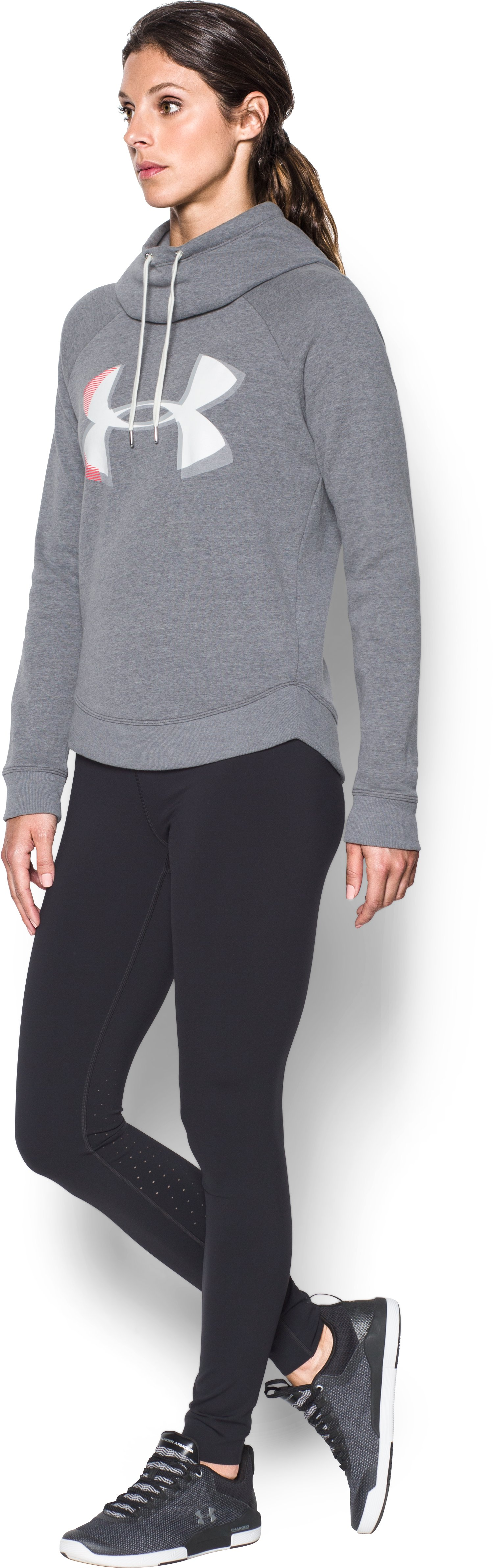 Women's UA Fashion Favorite Exploded Logo Pullover, Carbon Heather, undefined