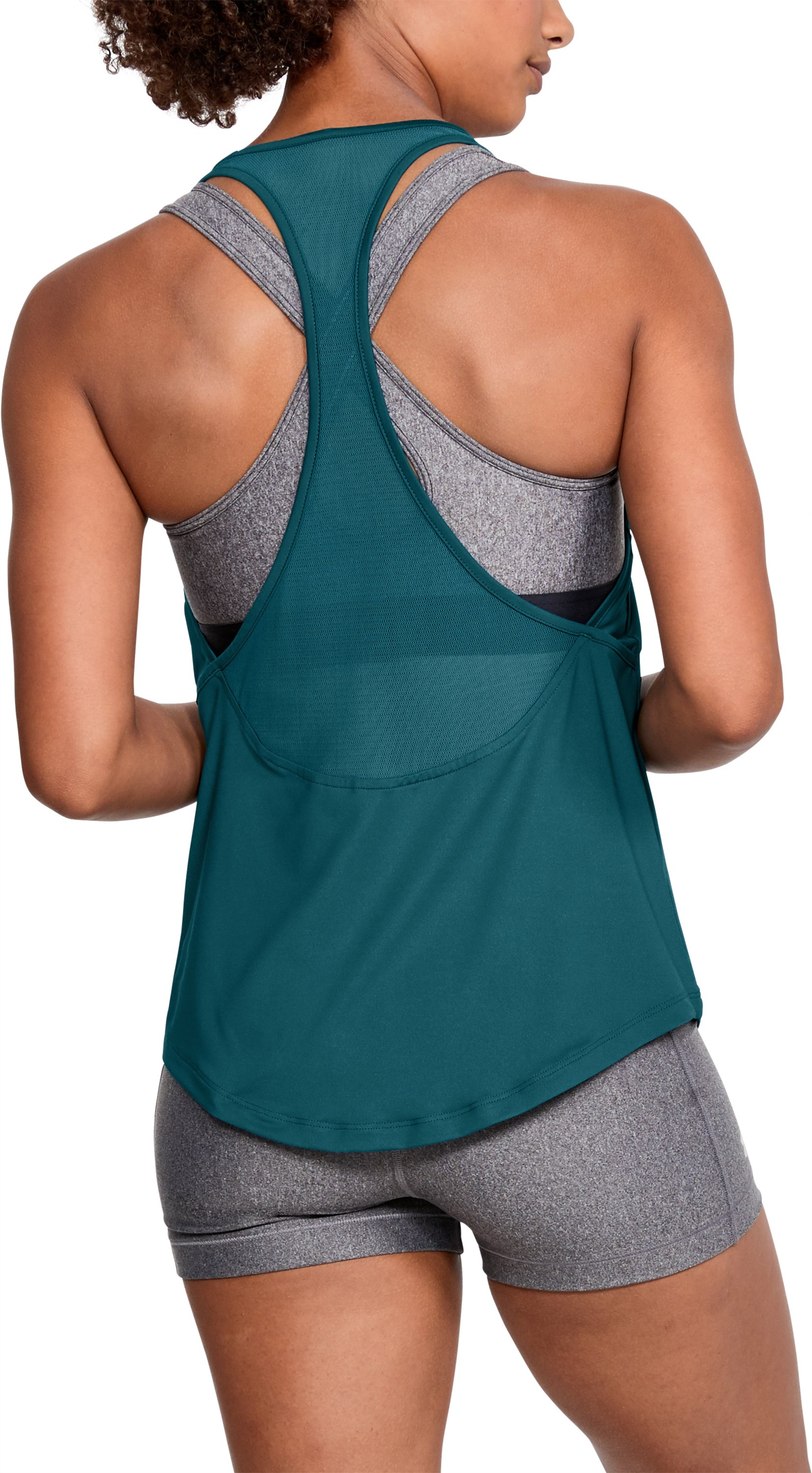 Women's HeatGear® Mesh Back Tank, TOURMALINE TEAL,