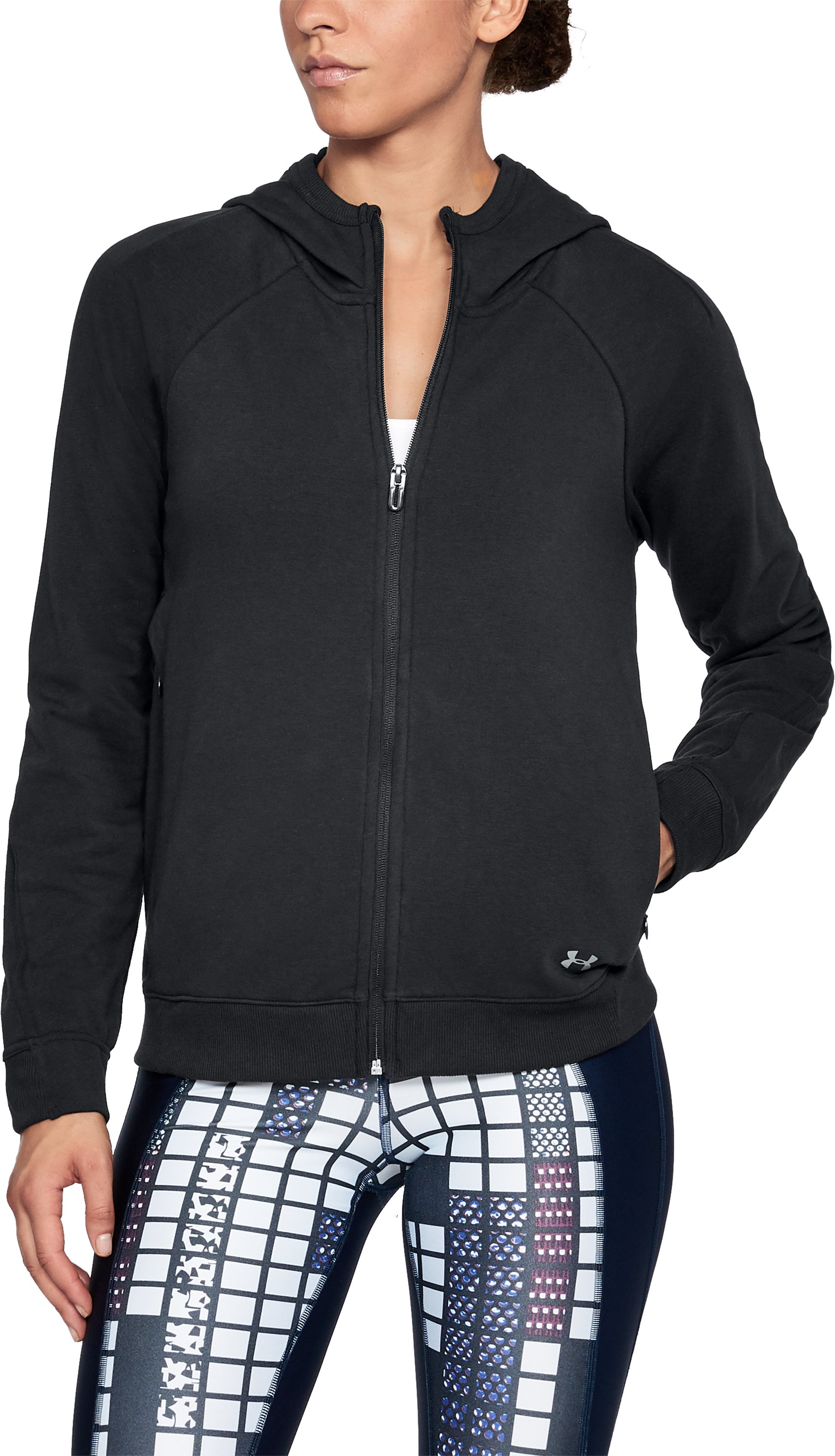 Women's UA Microthread Terry Full Zip Hoodie, Black