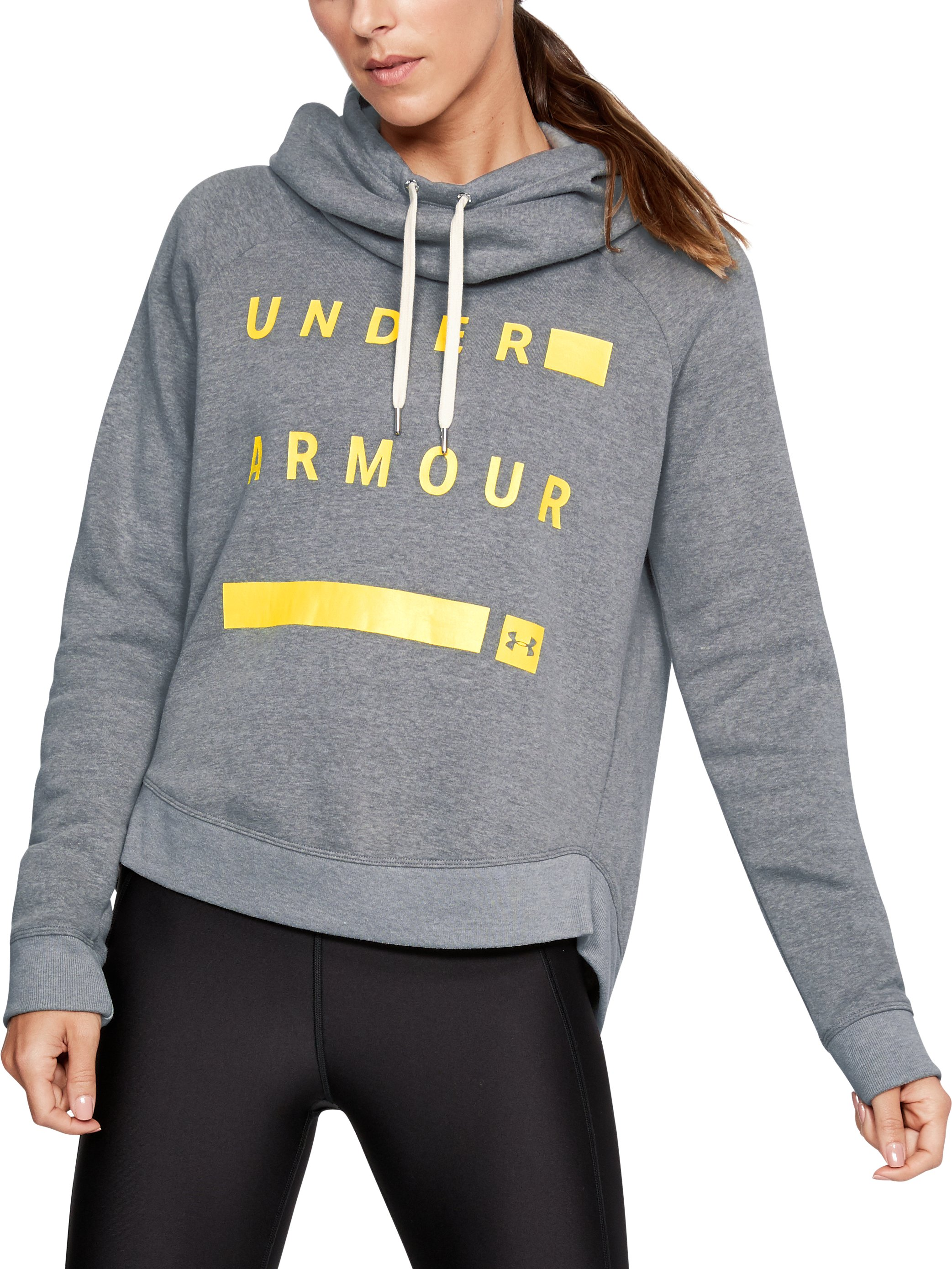 Women's UA Favorite Fleece Pullover Graphic Hoodie, STEEL LIGHT HEATHER