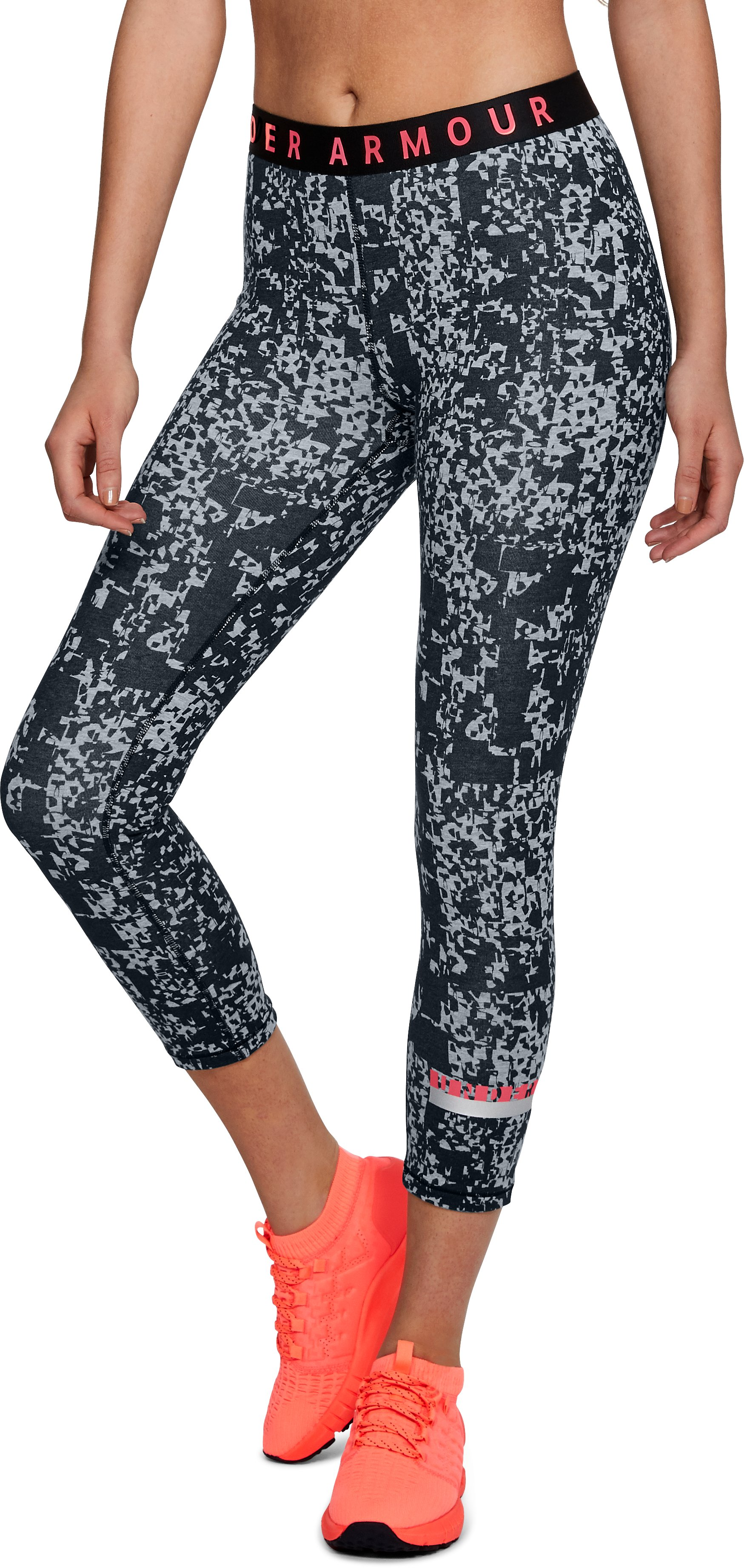 Women's UA Favorite Crop - Printed, STEEL LIGHT HEATHER,