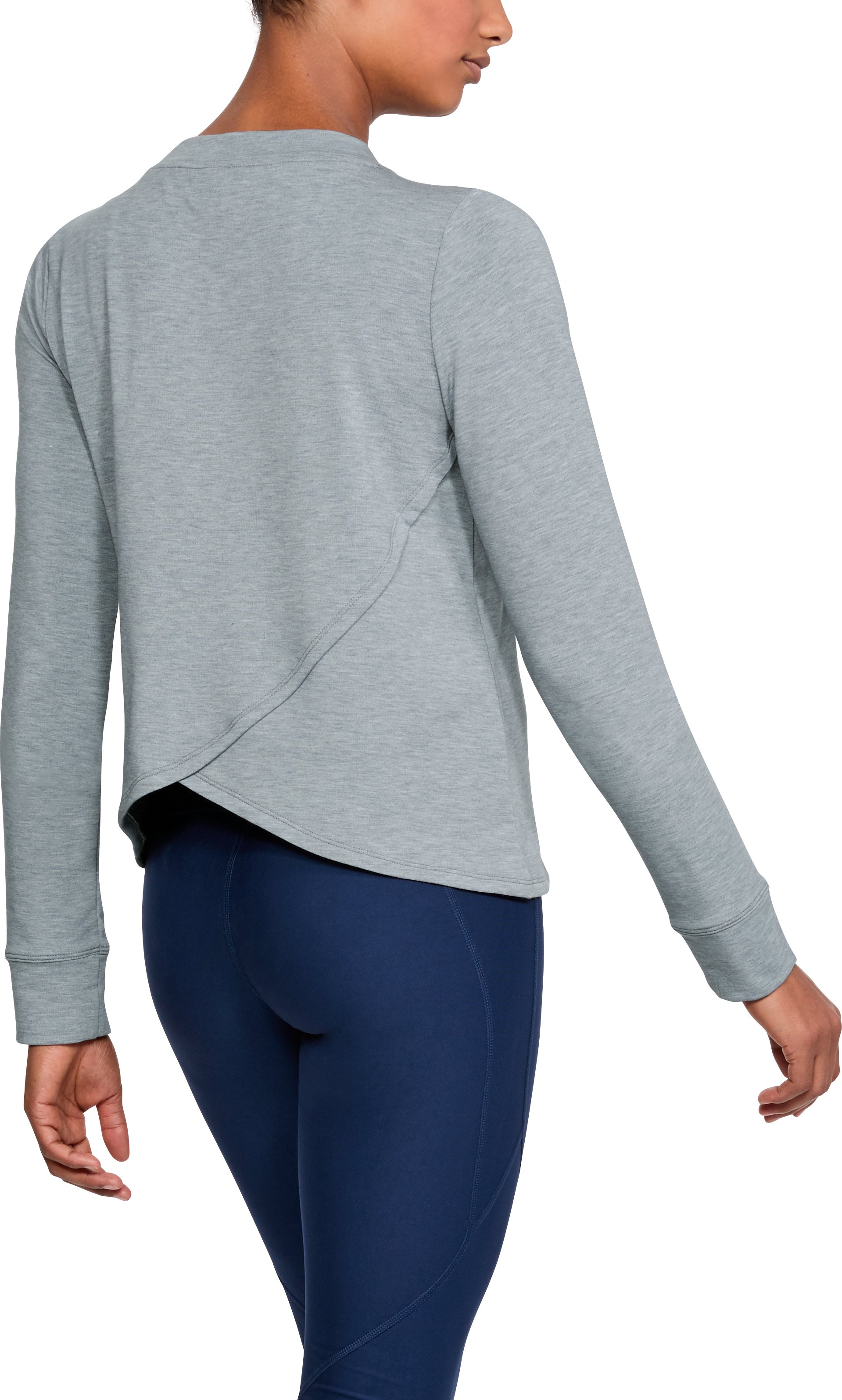 Women's UA Modal Terry Crew, STEEL FADE HEATHER,