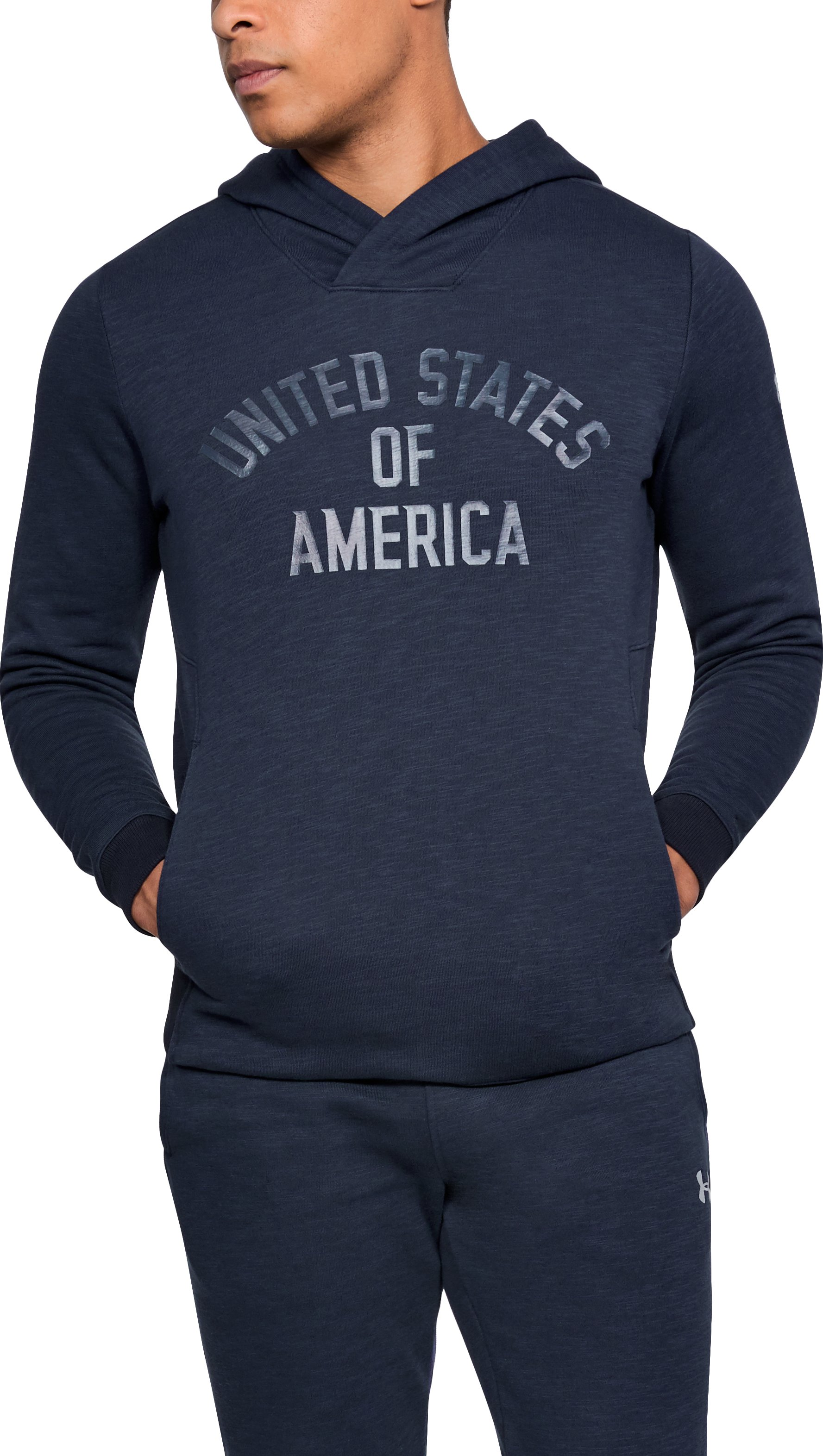 Men's UA Stars & Stripes Fleece Hoodie, Midnight Navy, zoomed