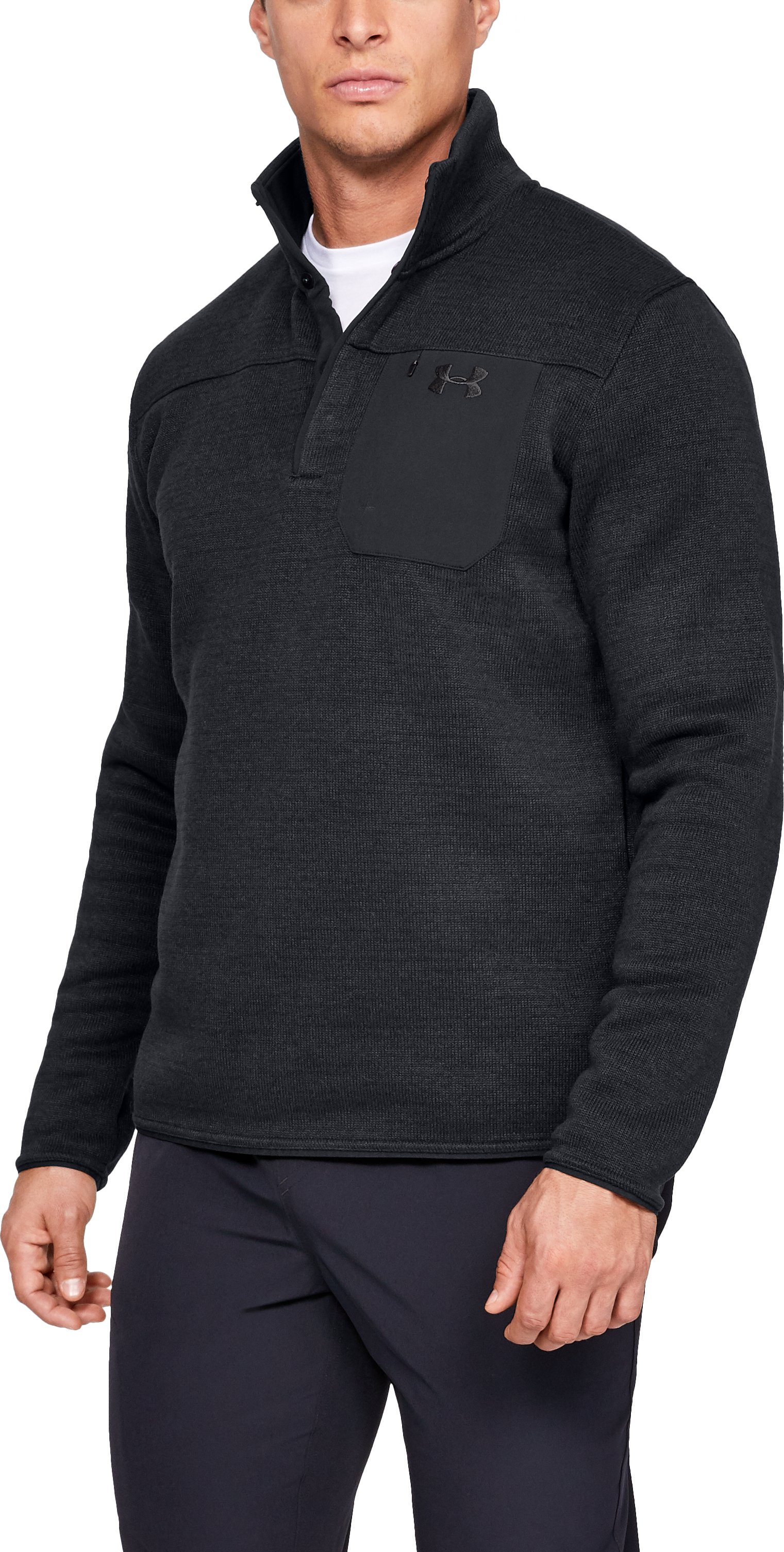 Men's UA Specialist Henley Long Sleeve, Black