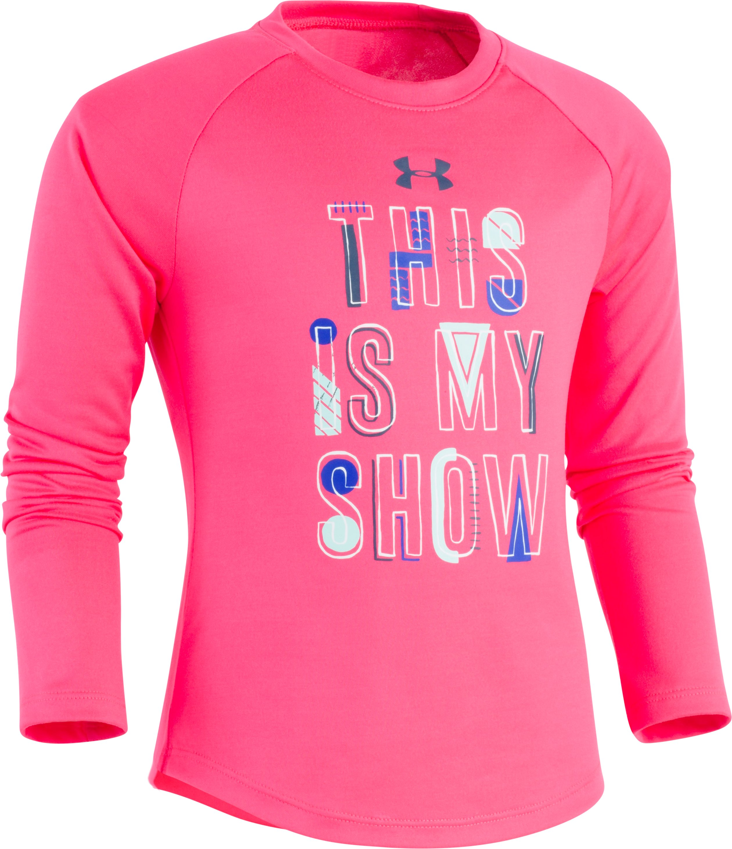 Girls' Pre-School UA This Is My Show Long Sleeve T-Shirt, PENTA PINK, Laydown