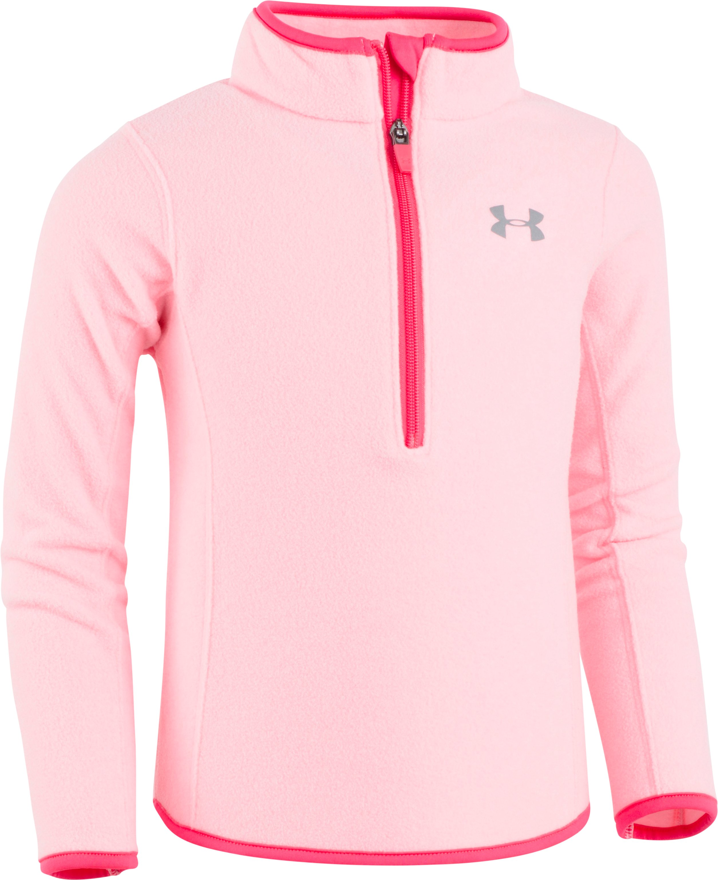 Girls' Pre-School UA Heathered 1/4 Zip, POP PINK FADE HEATHER