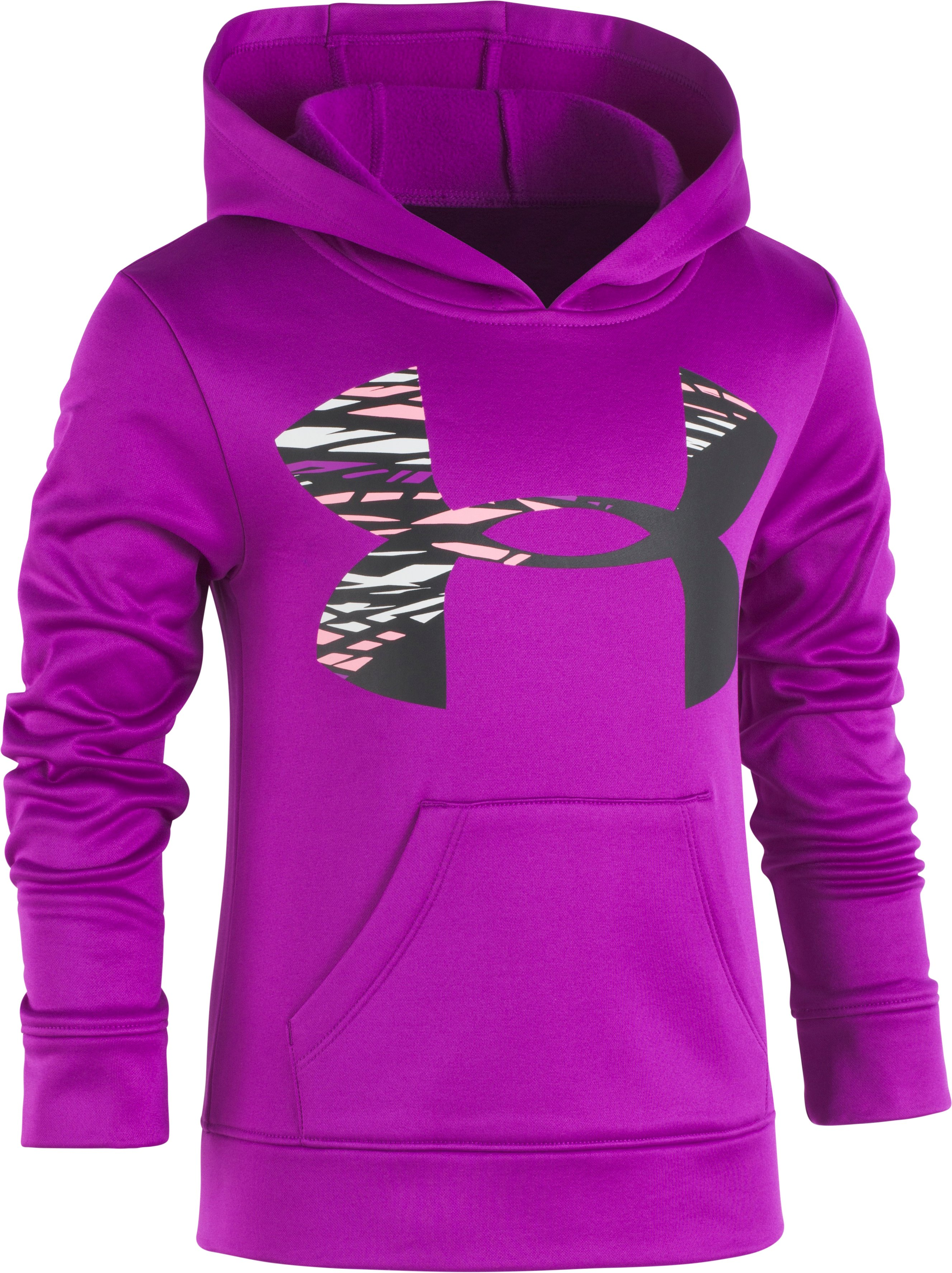 Girls' Pre-School UA Rush Big Logo Hoodie, PURPLE RAVE, Laydown
