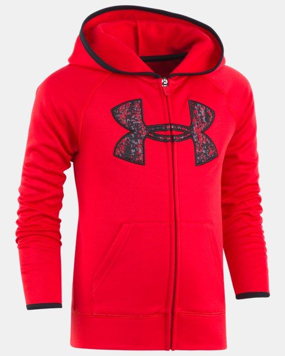 Boys' Pre-School UA Digital City Big Logo Hoodie, Red, pdpMainDesktop image number 0
