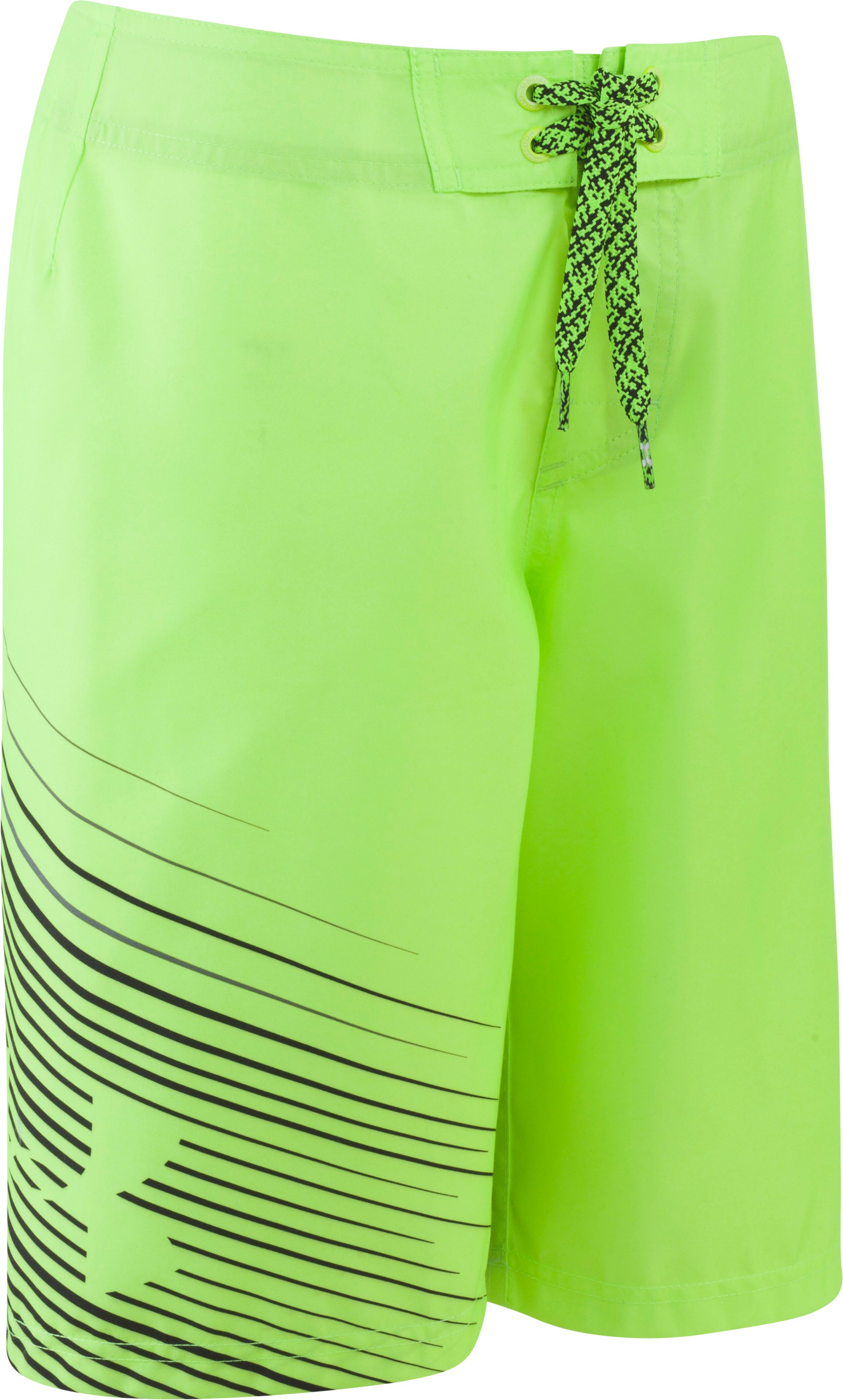 Boys' UA Flash Boardshorts, FUEL GREEN, Laydown