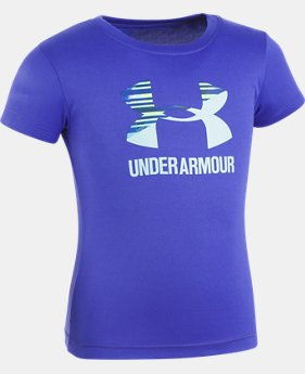 New Arrival Girls' Pre-School UA Split Logo Short Sleeve T-Shirt  1 Color $17.99