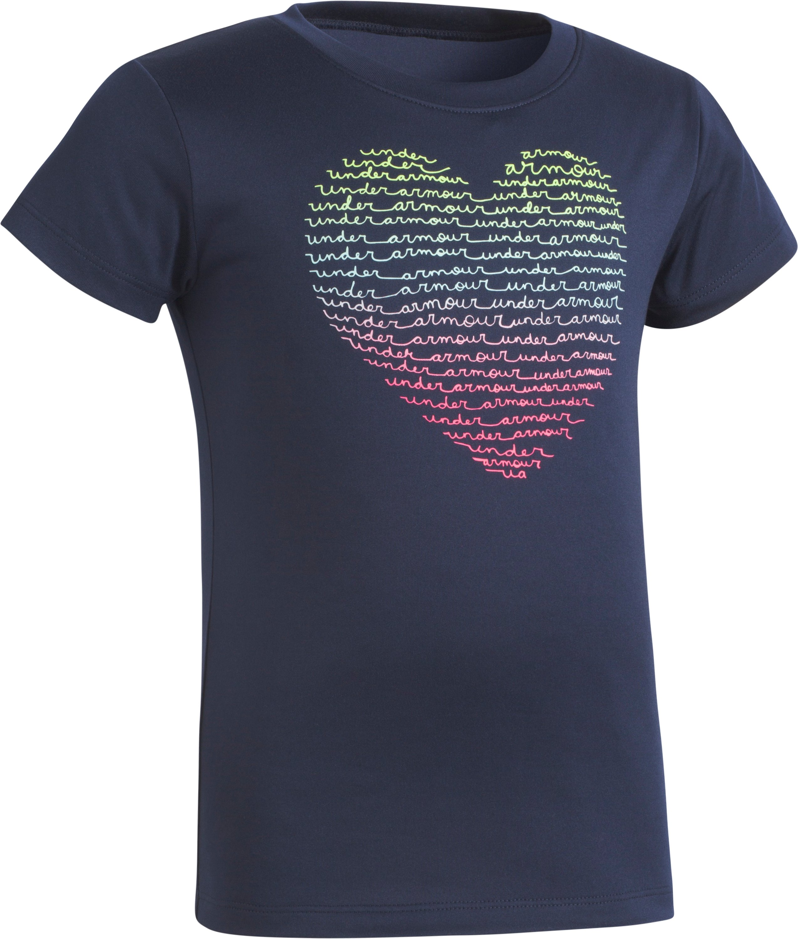 Girls' Pre-School UA Heart Short Sleeve T-Shirt, Midnight Navy, Laydown
