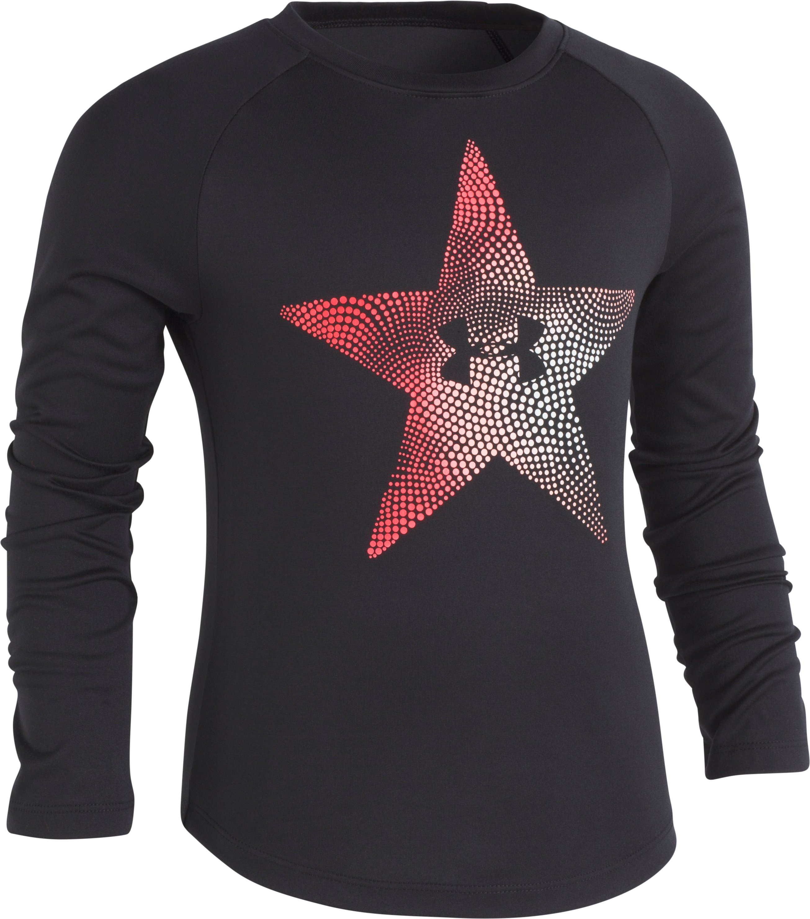 Girls' Pre-School UA Star Oracle Long Sleeve T-Shirt, Black , Laydown