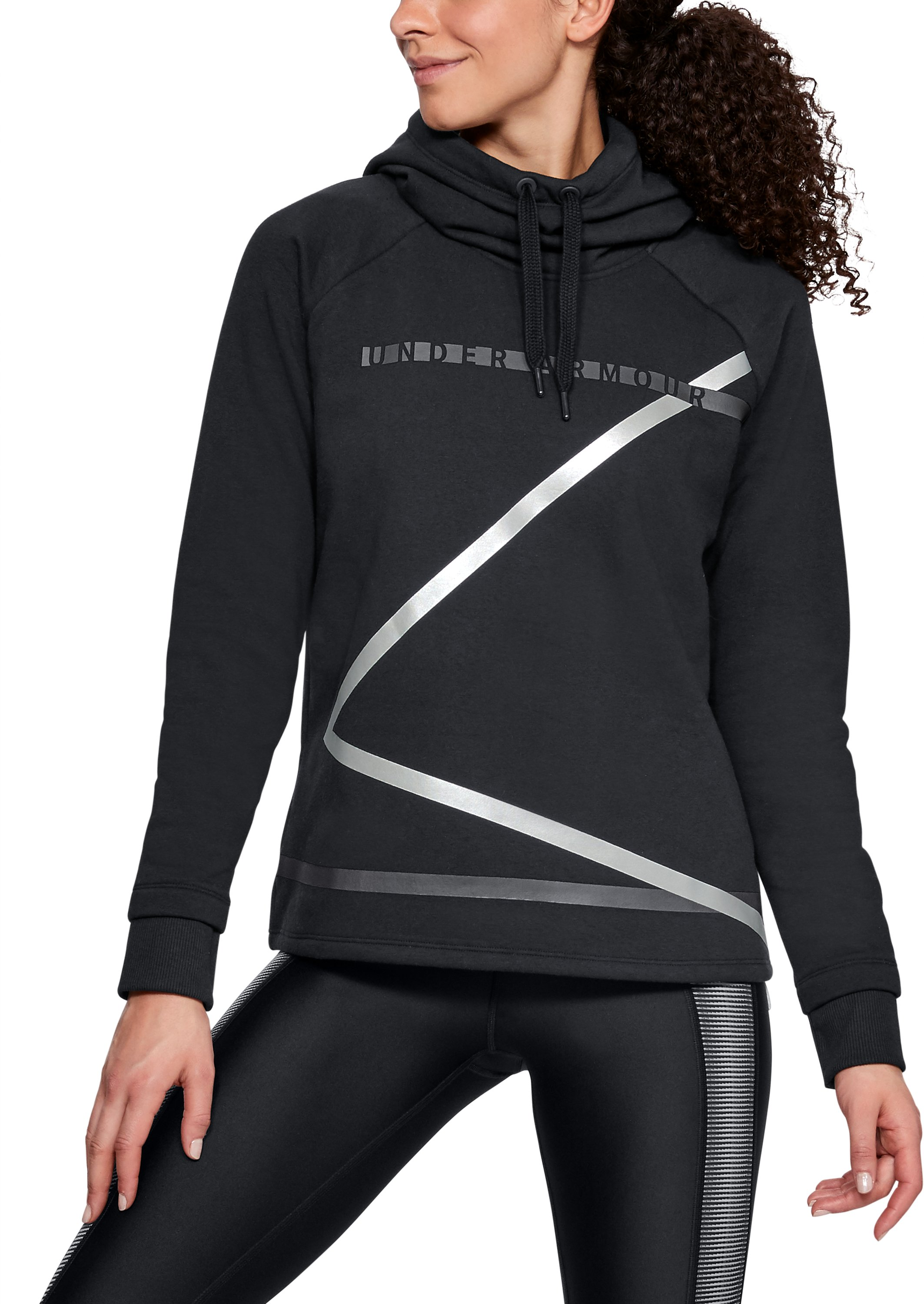 Women's UA Microthread Fleece Hoodie, Black