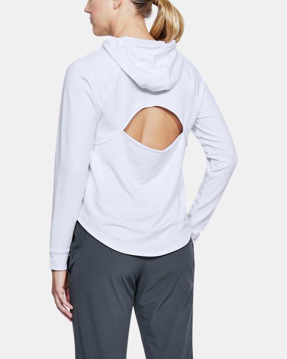 Women's UA Featherweight Fleece Oversize Hoodie, White, pdpMainDesktop image number 2