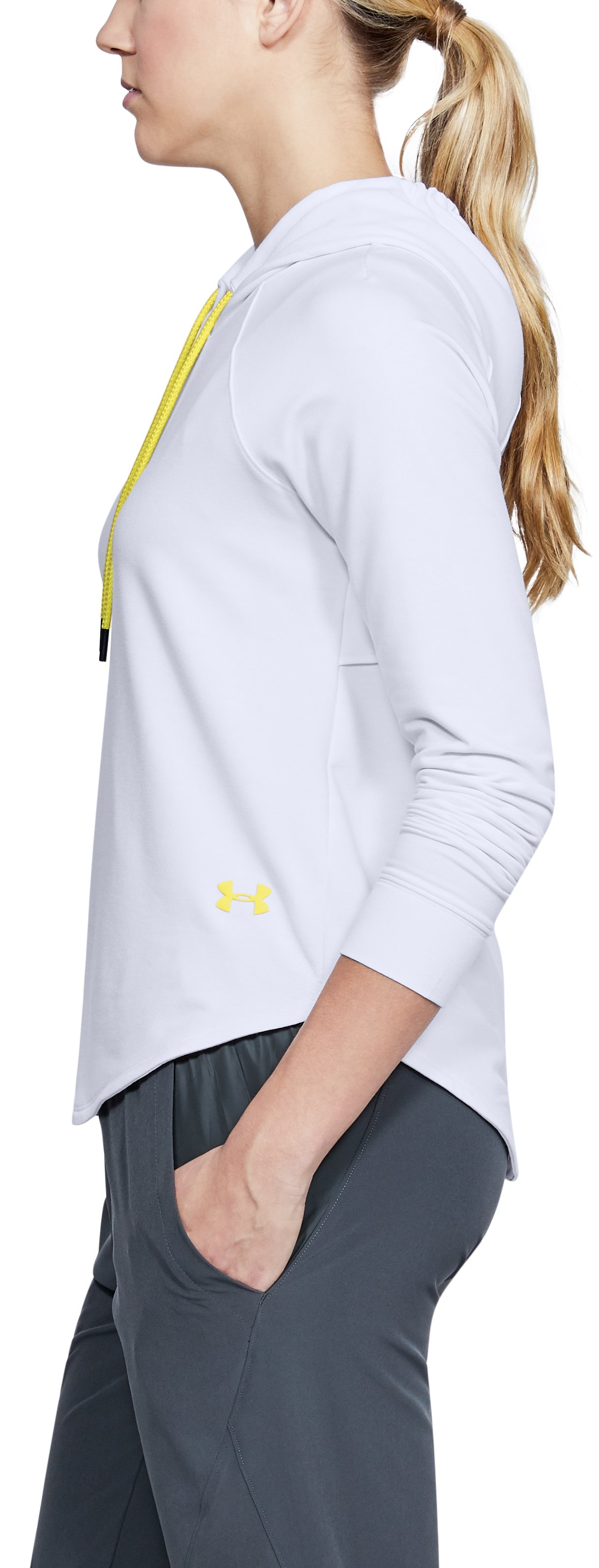 Women's UA Featherweight Fleece Oversize Hoodie, White,