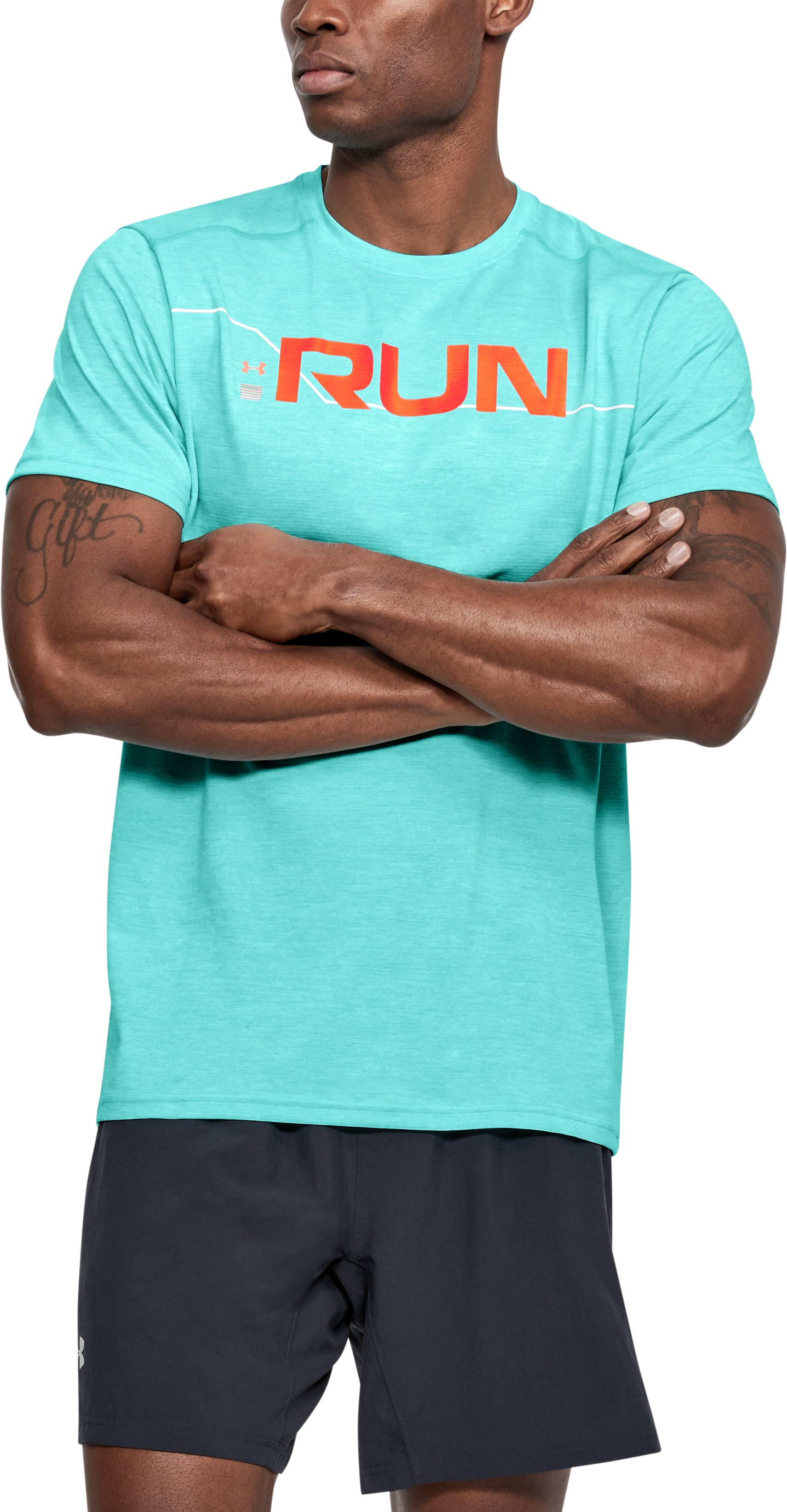 Men's UA Front T-Shirt, TROPICAL TIDE
