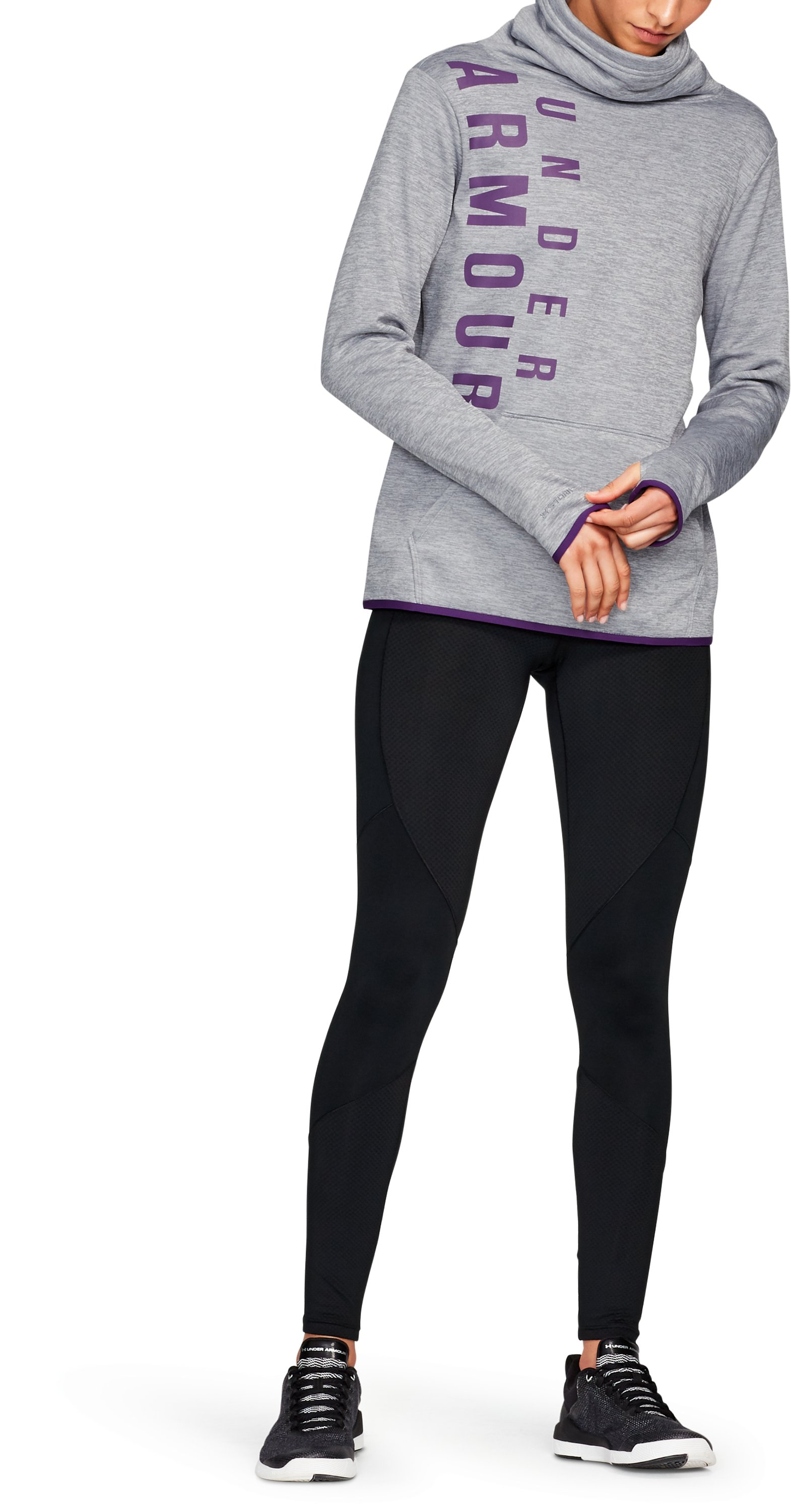 Women's Armour® Fleece Graphic Twist Pullover, Steel
