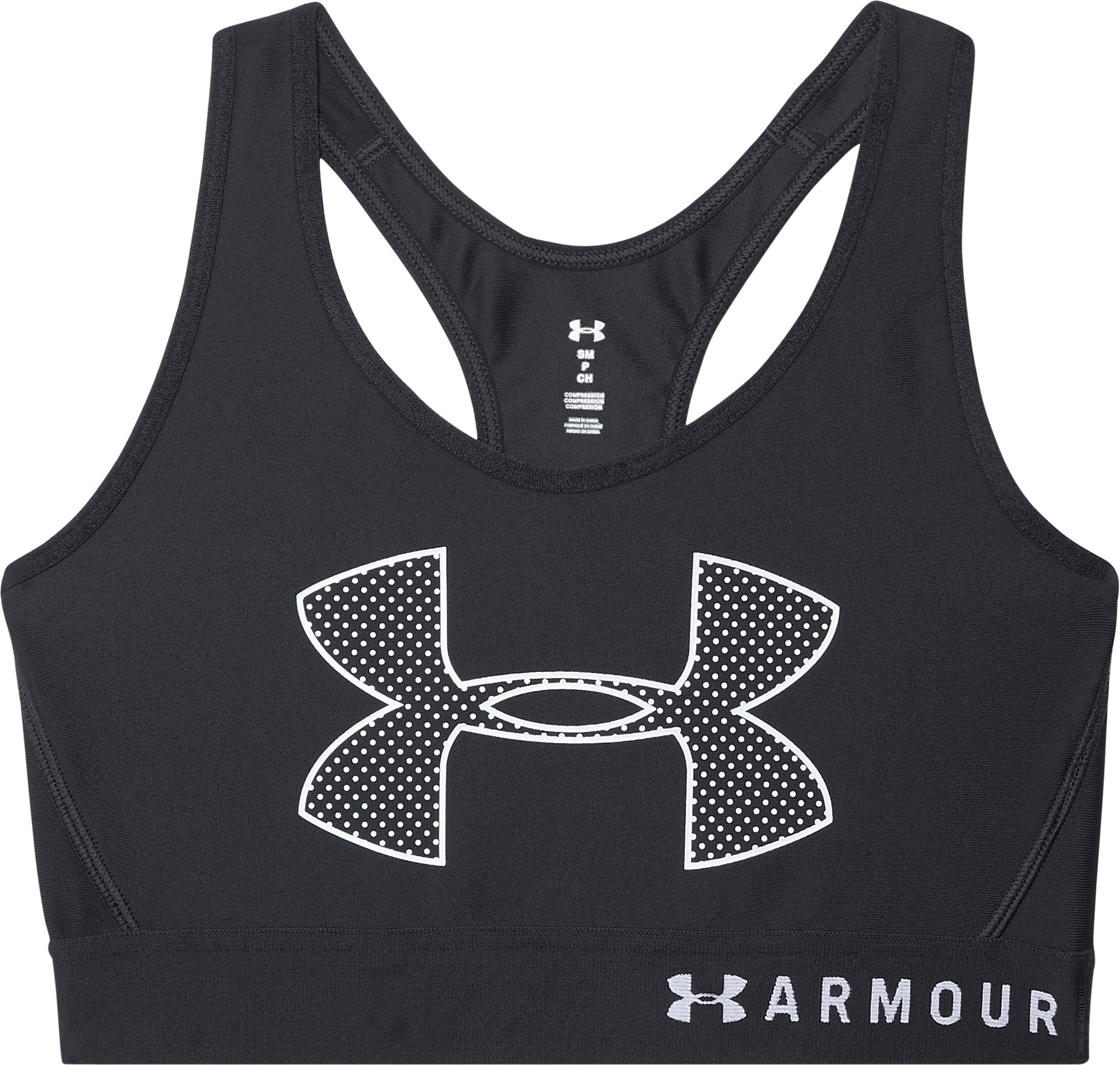 Women's UA Armour Mid Graphic Sports Bra, Black ,