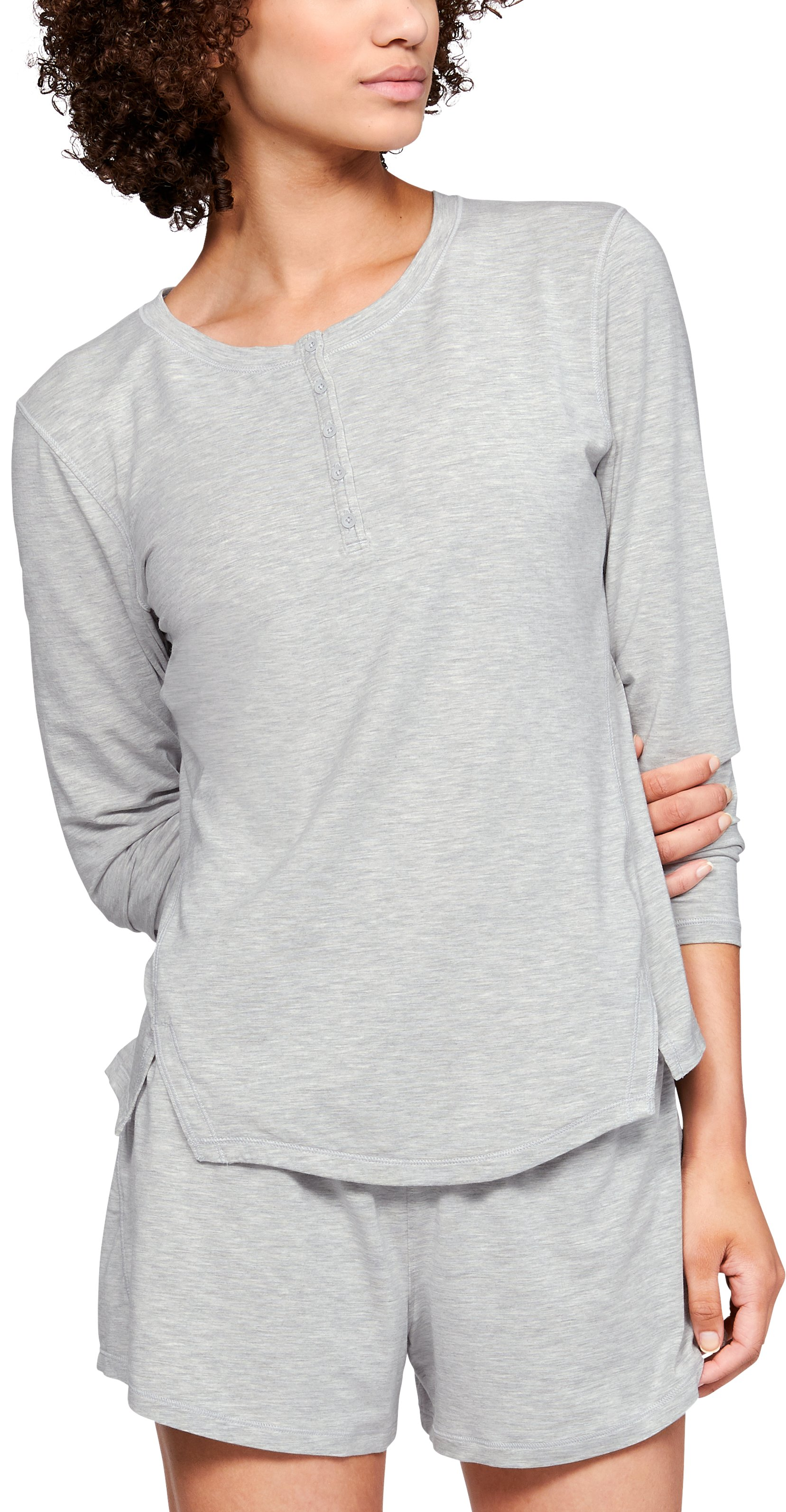Women's Athlete Recovery Sleepwear™ Ultra Comfort Henley, ALUMINUM MEDIUM HEATHER