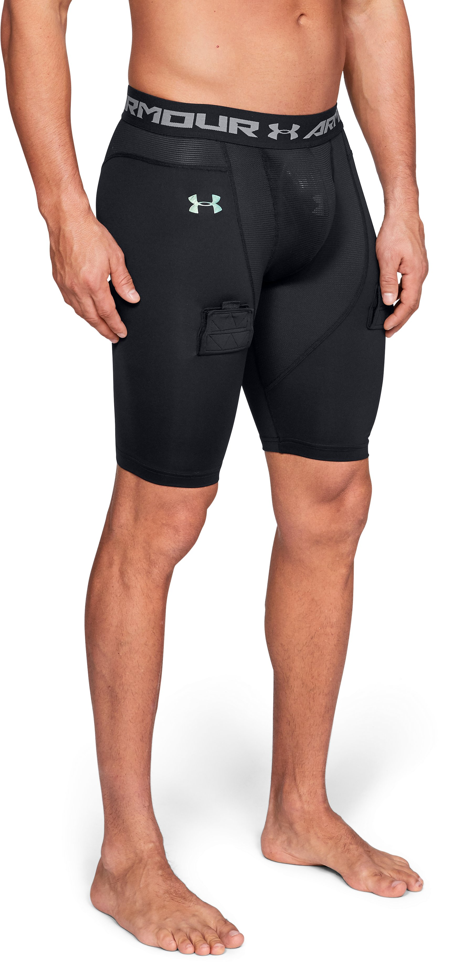 Men's UA Hockey Compression Shorts, Black , zoomed