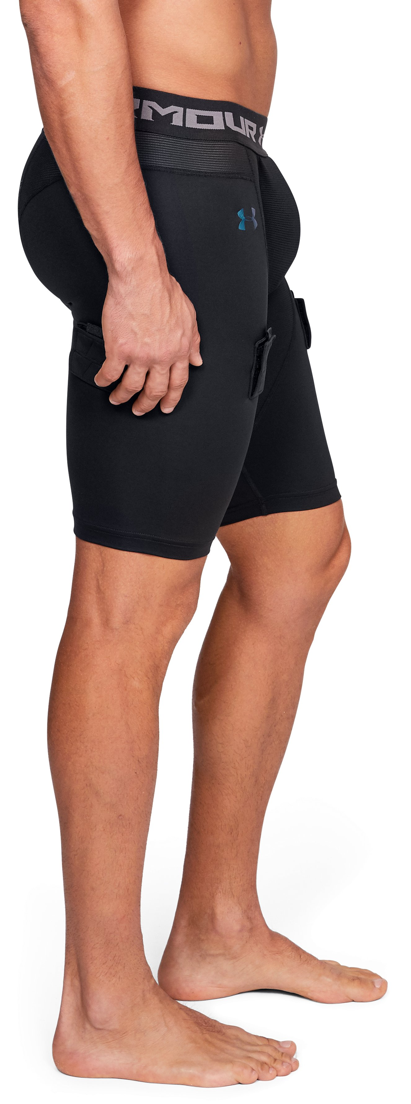 Men's UA Hockey Compression Shorts, Black ,