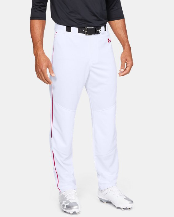 Men's UA Utility Relaxed Piped Baseball Pants, White, pdpMainDesktop image number 0