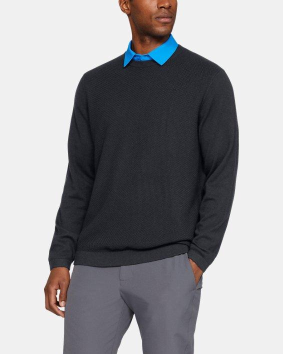 Men's UA Threadborne Crew Sweater, Black, pdpMainDesktop image number 0