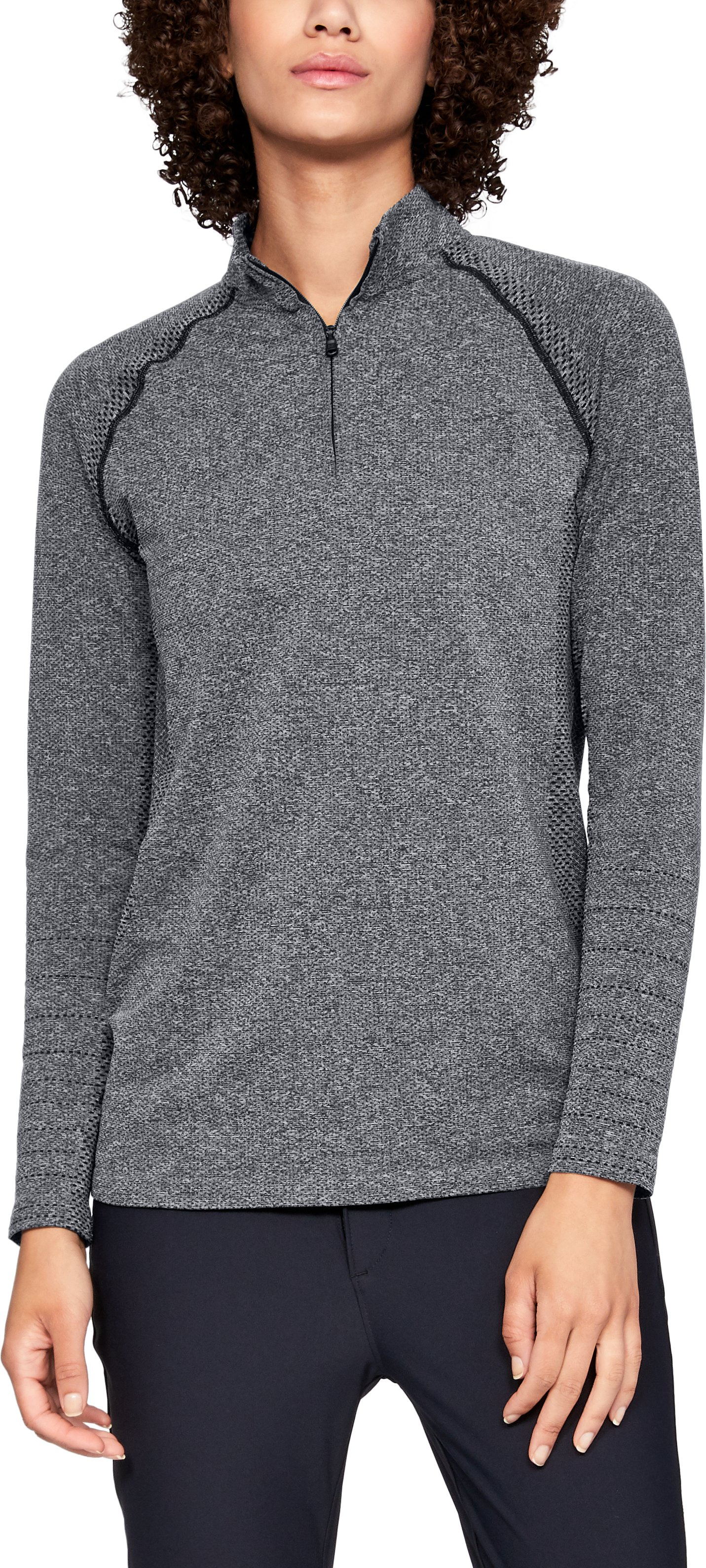 Women's UA Vanish Seamless ¼ Zip, BLACK MEDIUM HEATHER,